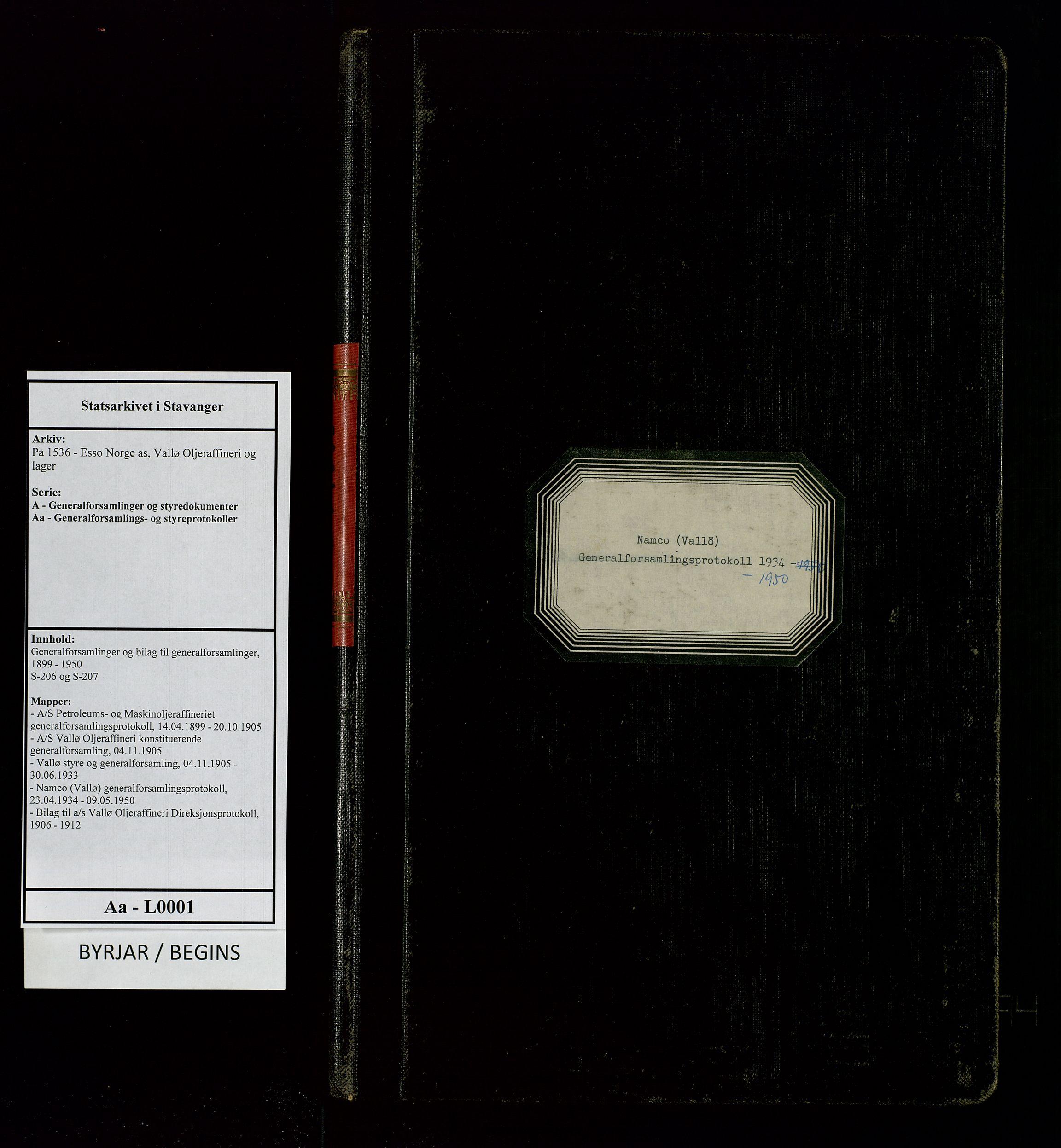 SAST, Pa 1536 - Esso Norge as, Vallø Oljeraffineri og lager, A/Aa/L0001: Generalforsamlinger og bilag til generalforsamlinger, 1934-1950, s. upaginert