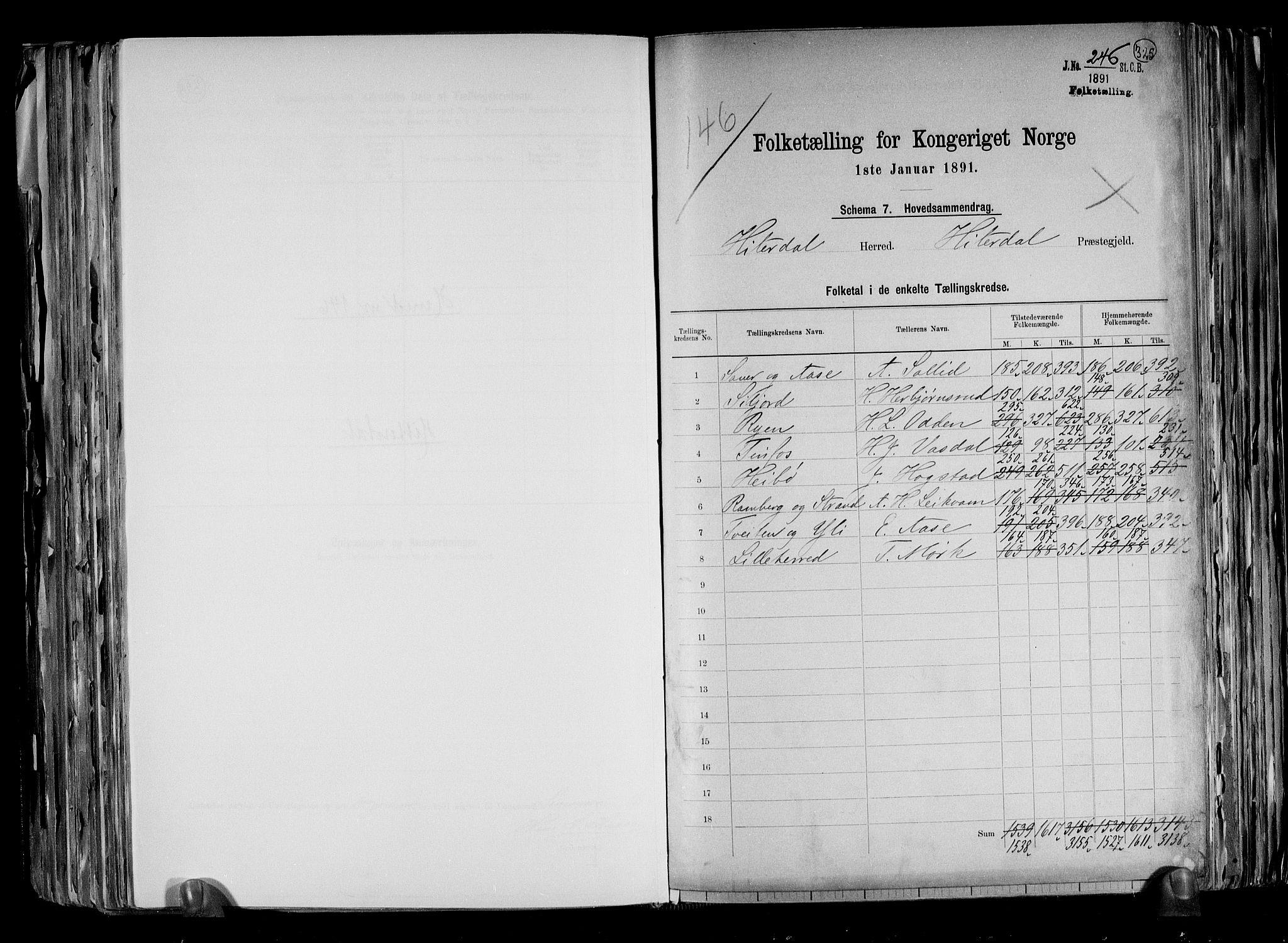 RA, Folketelling 1891 for 0823 Heddal herred, 1891, s. 2