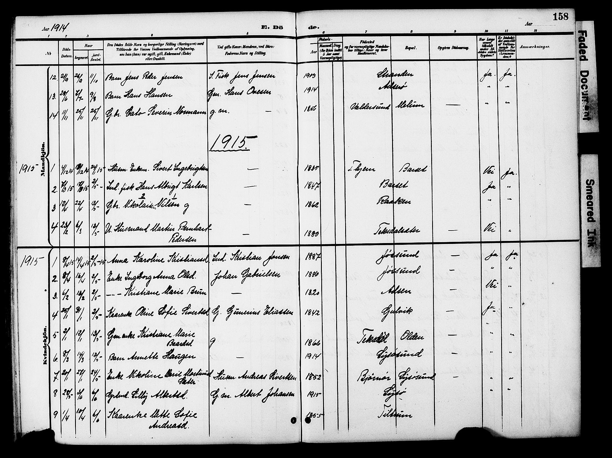 SAT, Ministerialprotokoller, klokkerbøker og fødselsregistre - Sør-Trøndelag, 654/L0666: Klokkerbok nr. 654C02, 1901-1925, s. 158