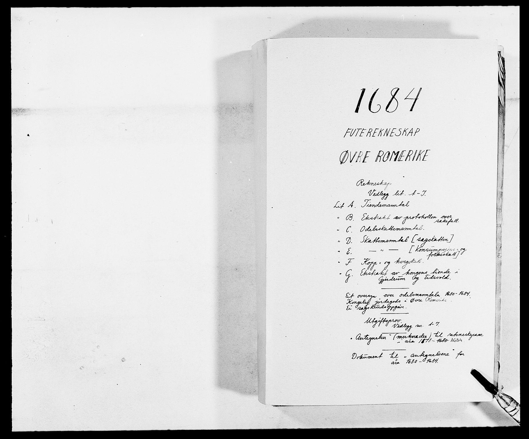 RA, Rentekammeret inntil 1814, Reviderte regnskaper, Fogderegnskap, R12/L0698: Fogderegnskap Øvre Romerike, 1684, s. 1