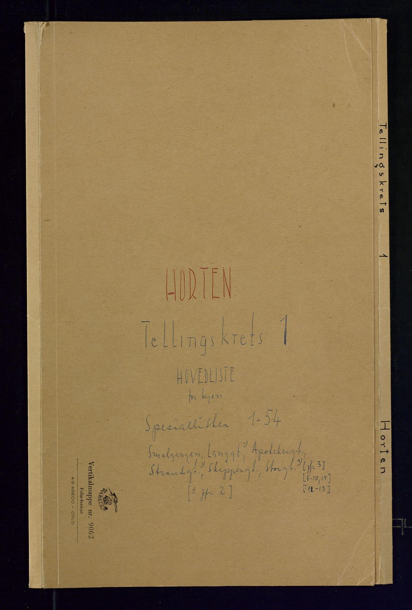 SAKO, Folketelling 1875 for 0703P Horten prestegjeld, 1875, s. 1