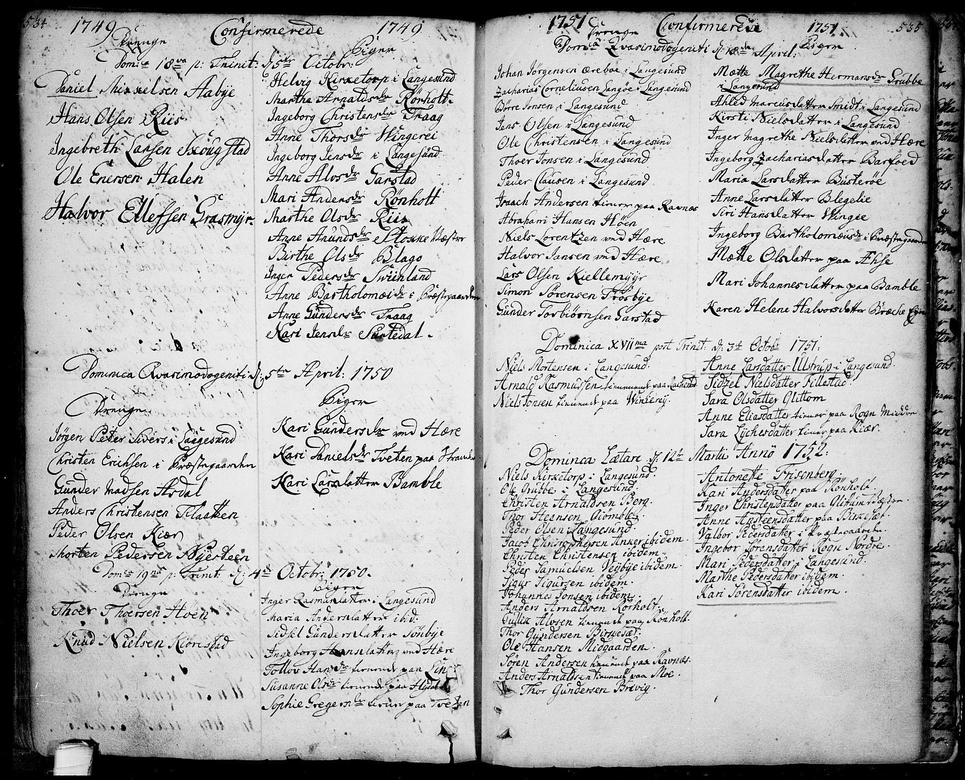 SAKO, Bamble kirkebøker, F/Fa/L0001: Ministerialbok nr. I 1, 1702-1774, s. 534-535
