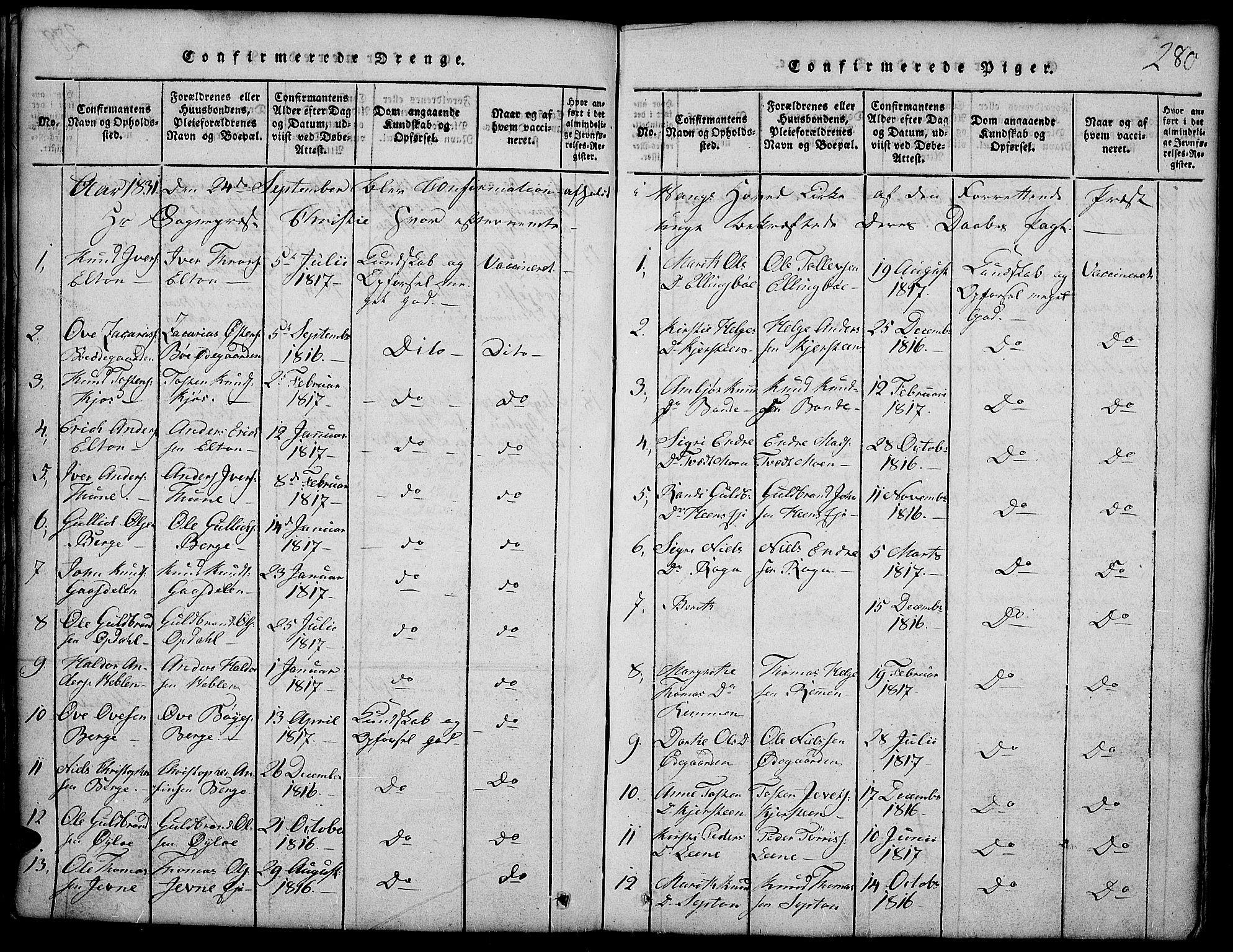 SAH, Vang prestekontor, Valdres, Klokkerbok nr. 2, 1814-1889, s. 280