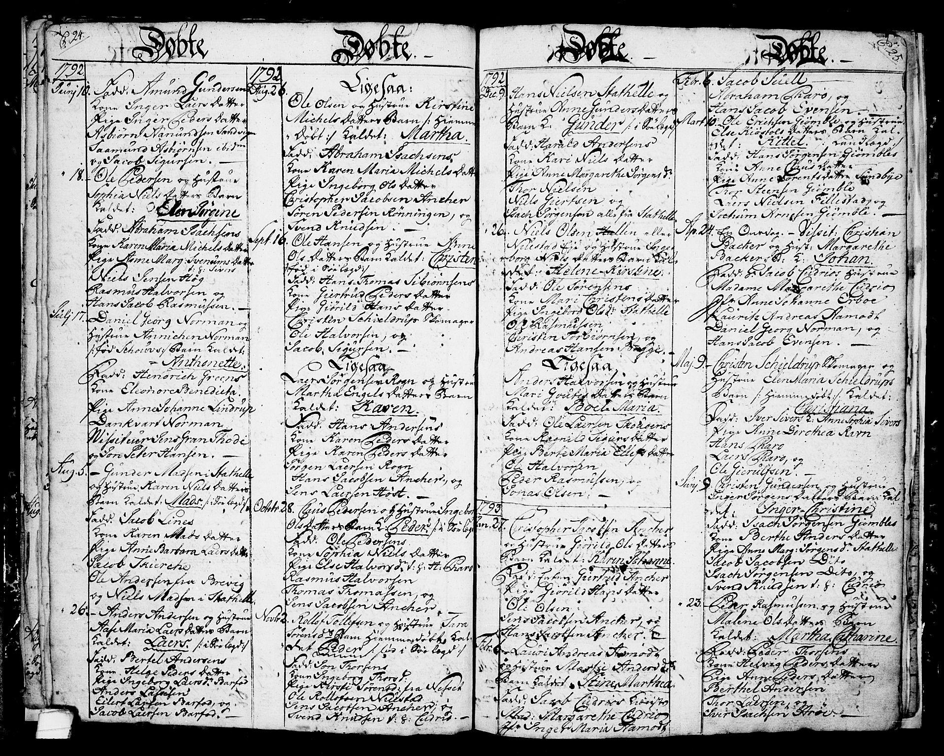 SAKO, Langesund kirkebøker, G/Ga/L0001: Klokkerbok nr. 1, 1783-1801, s. 24-25