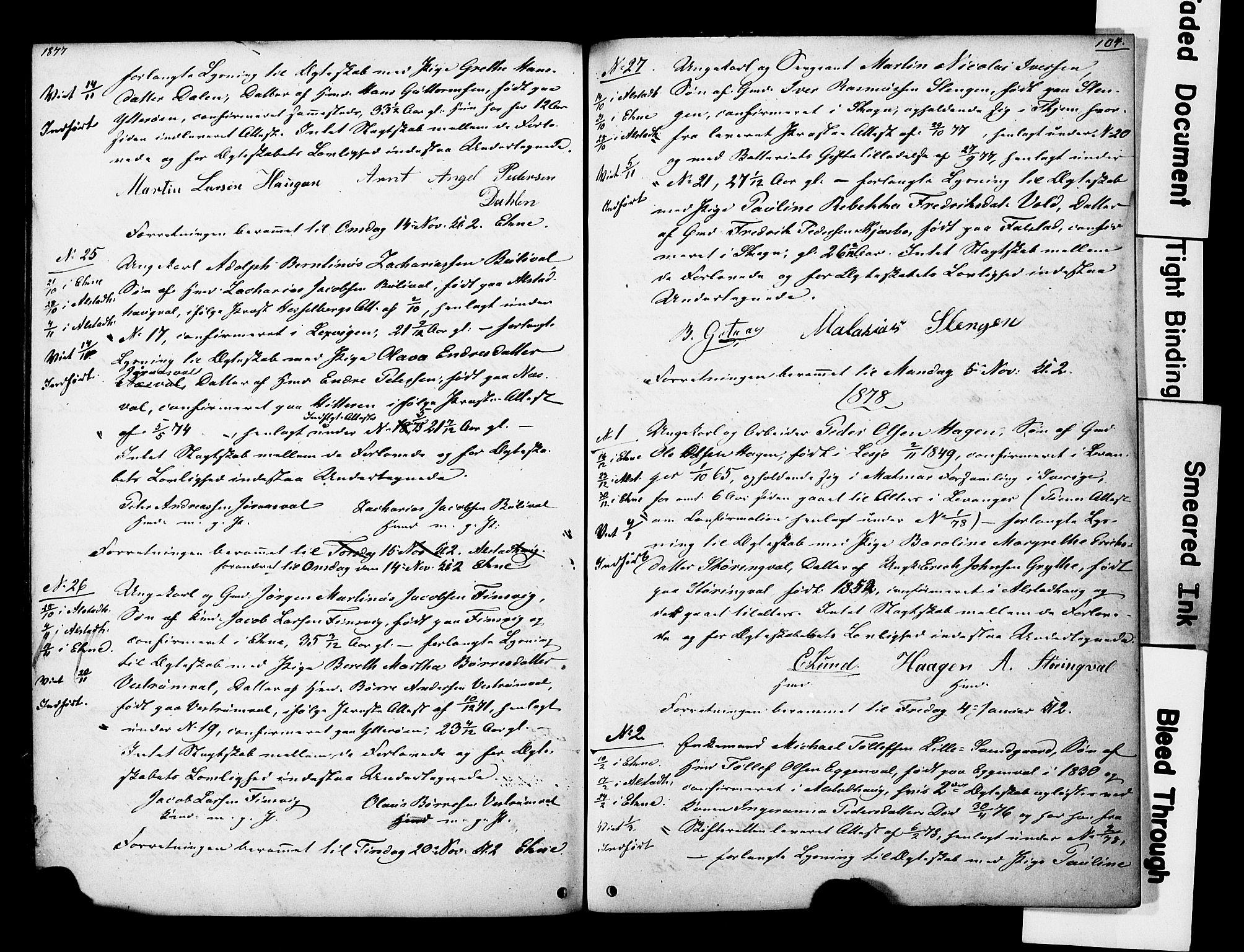 SAT, Ministerialprotokoller, klokkerbøker og fødselsregistre - Nord-Trøndelag, 717/L0161: Forlovererklæringer nr. 717A11, 1850-1895, s. 104