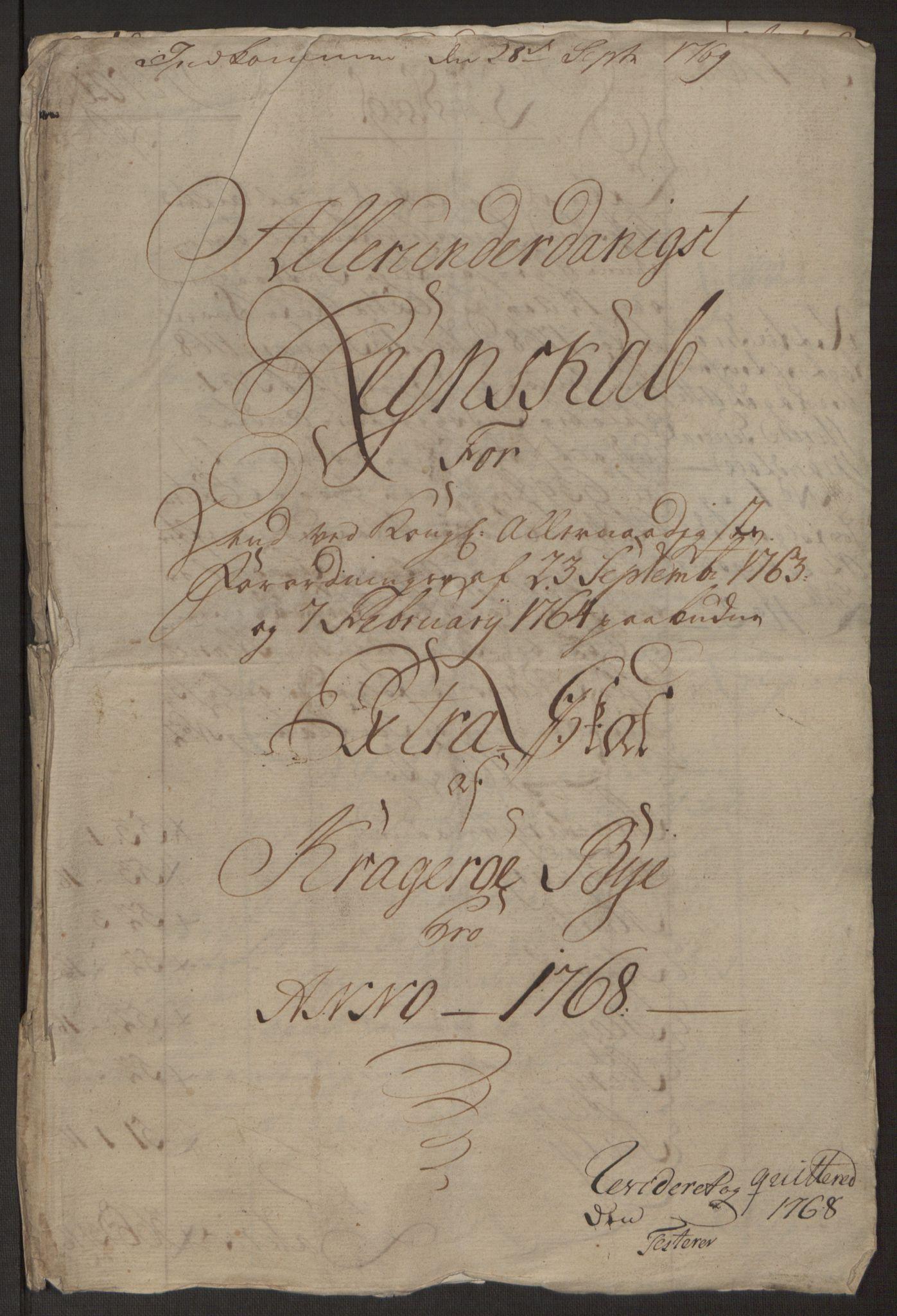 RA, Rentekammeret inntil 1814, Reviderte regnskaper, Byregnskaper, R/Rk/L0218: [K2] Kontribusjonsregnskap, 1768-1772, s. 3