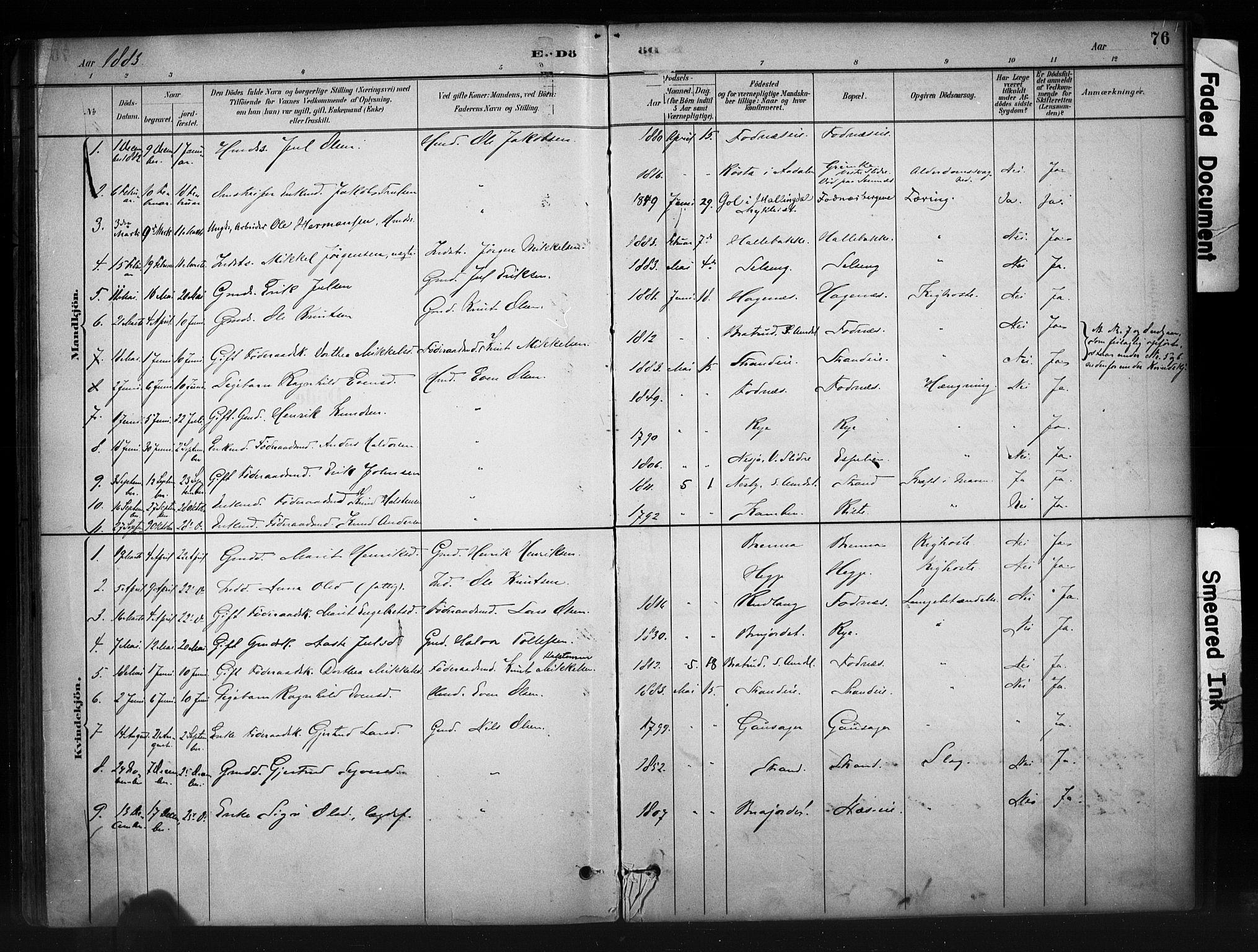 SAH, Nord-Aurdal prestekontor, Ministerialbok nr. 10, 1883-1896, s. 76