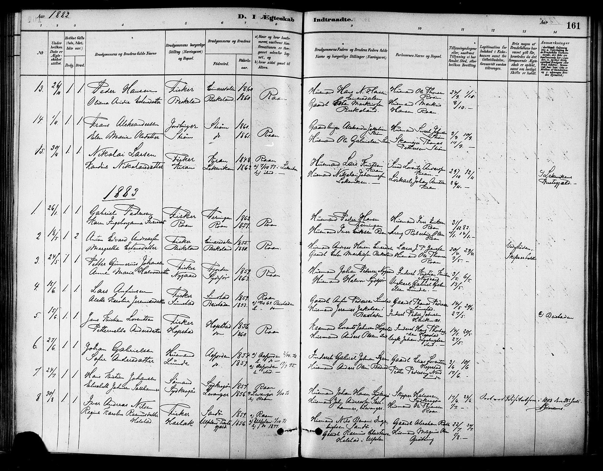 SAT, Ministerialprotokoller, klokkerbøker og fødselsregistre - Sør-Trøndelag, 657/L0707: Ministerialbok nr. 657A08, 1879-1893, s. 161