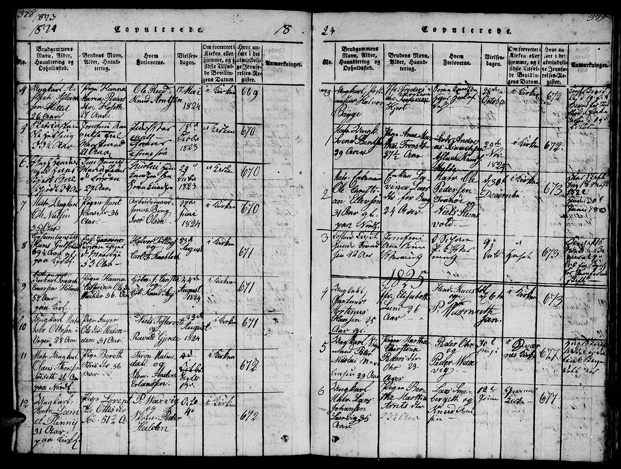 SAT, Ministerialprotokoller, klokkerbøker og fødselsregistre - Møre og Romsdal, 572/L0856: Klokkerbok nr. 572C01, 1819-1832, s. 378-379