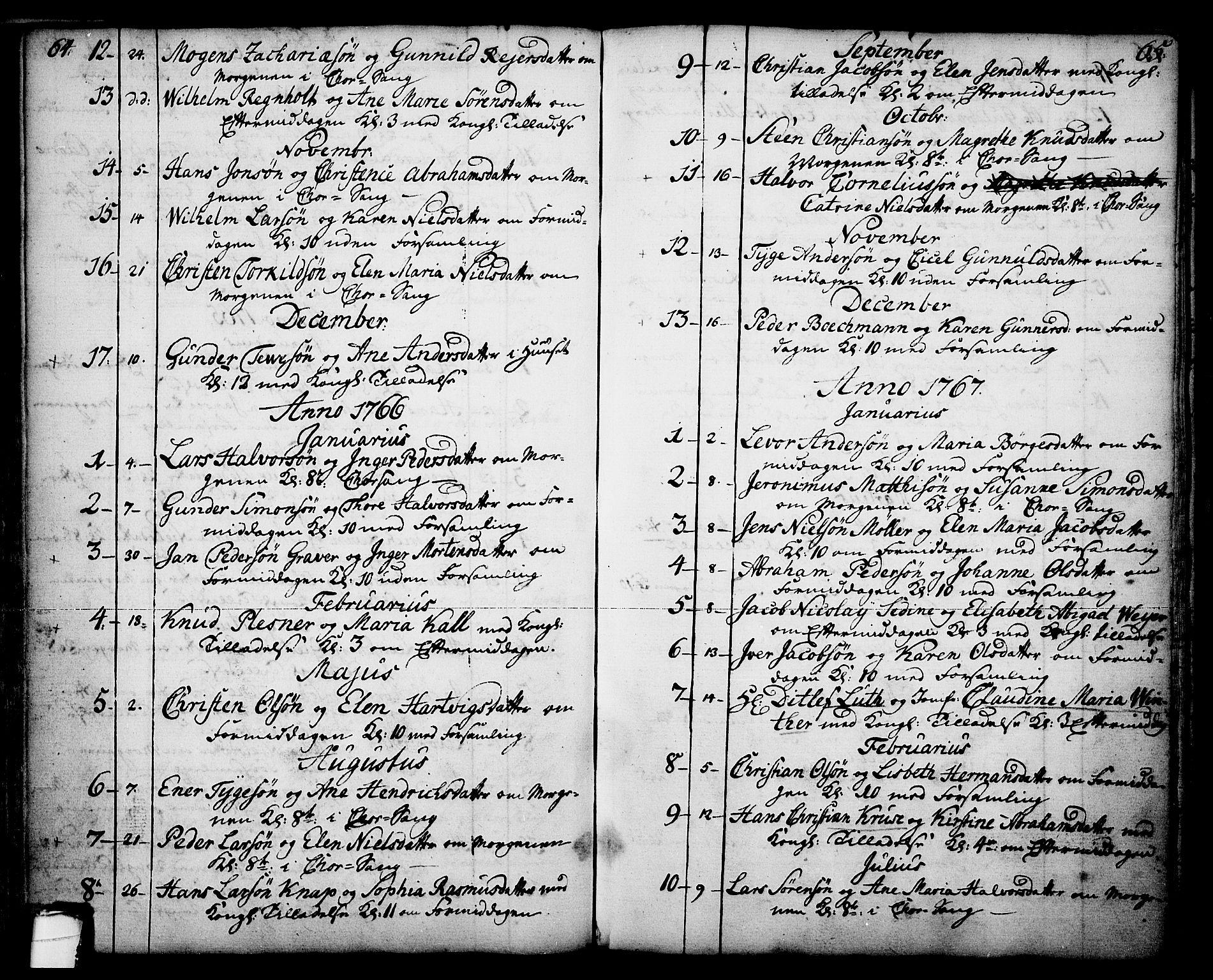 SAKO, Skien kirkebøker, F/Fa/L0003: Ministerialbok nr. 3, 1755-1791, s. 64-65