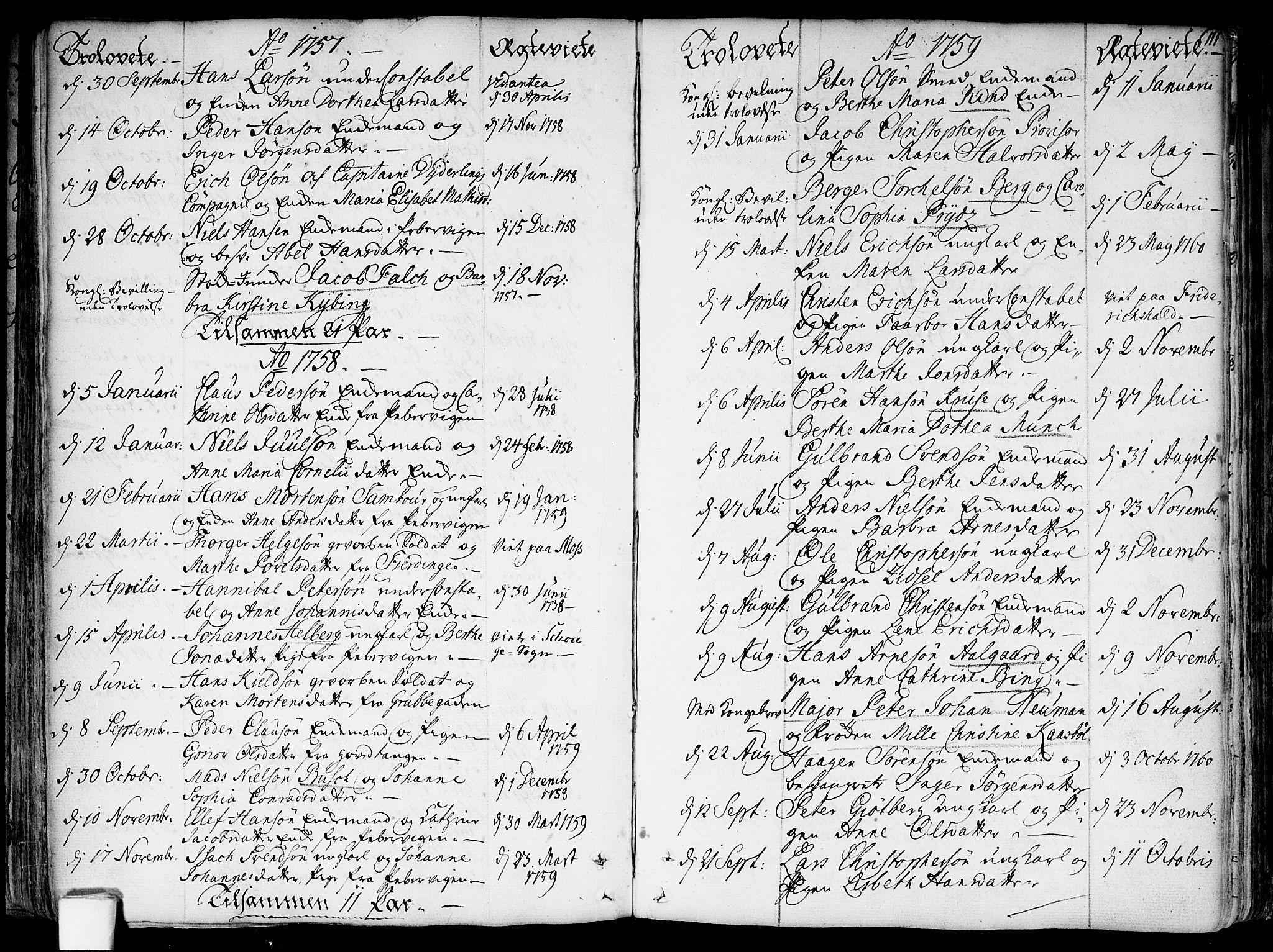 SAO, Garnisonsmenigheten Kirkebøker, F/Fa/L0002: Ministerialbok nr. 2, 1757-1776, s. 111
