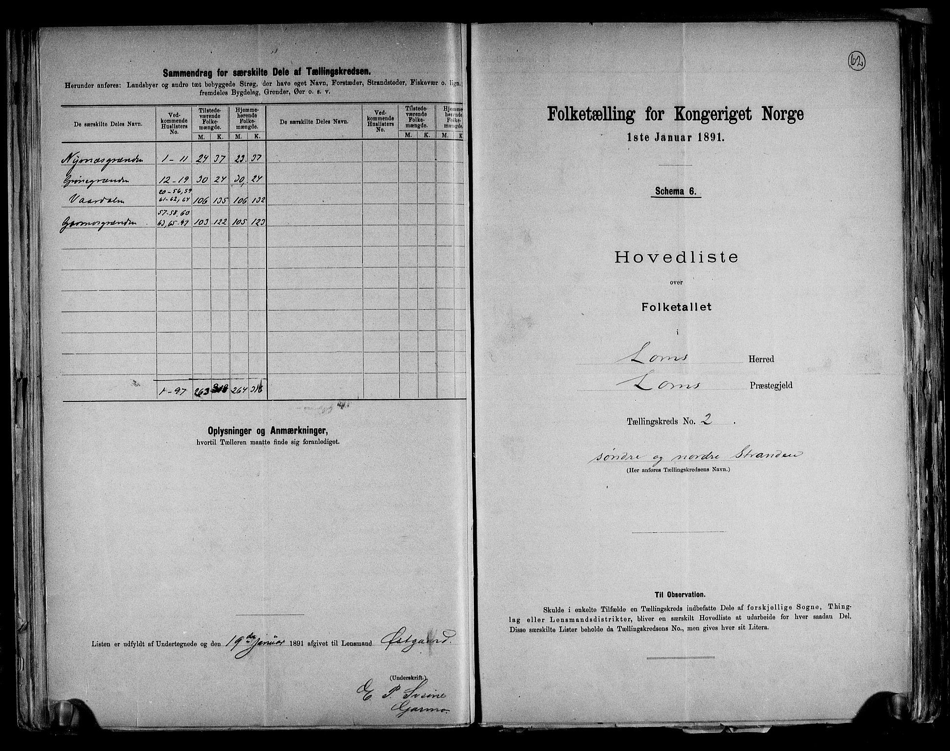 RA, Folketelling 1891 for 0514 Lom herred, 1891, s. 6