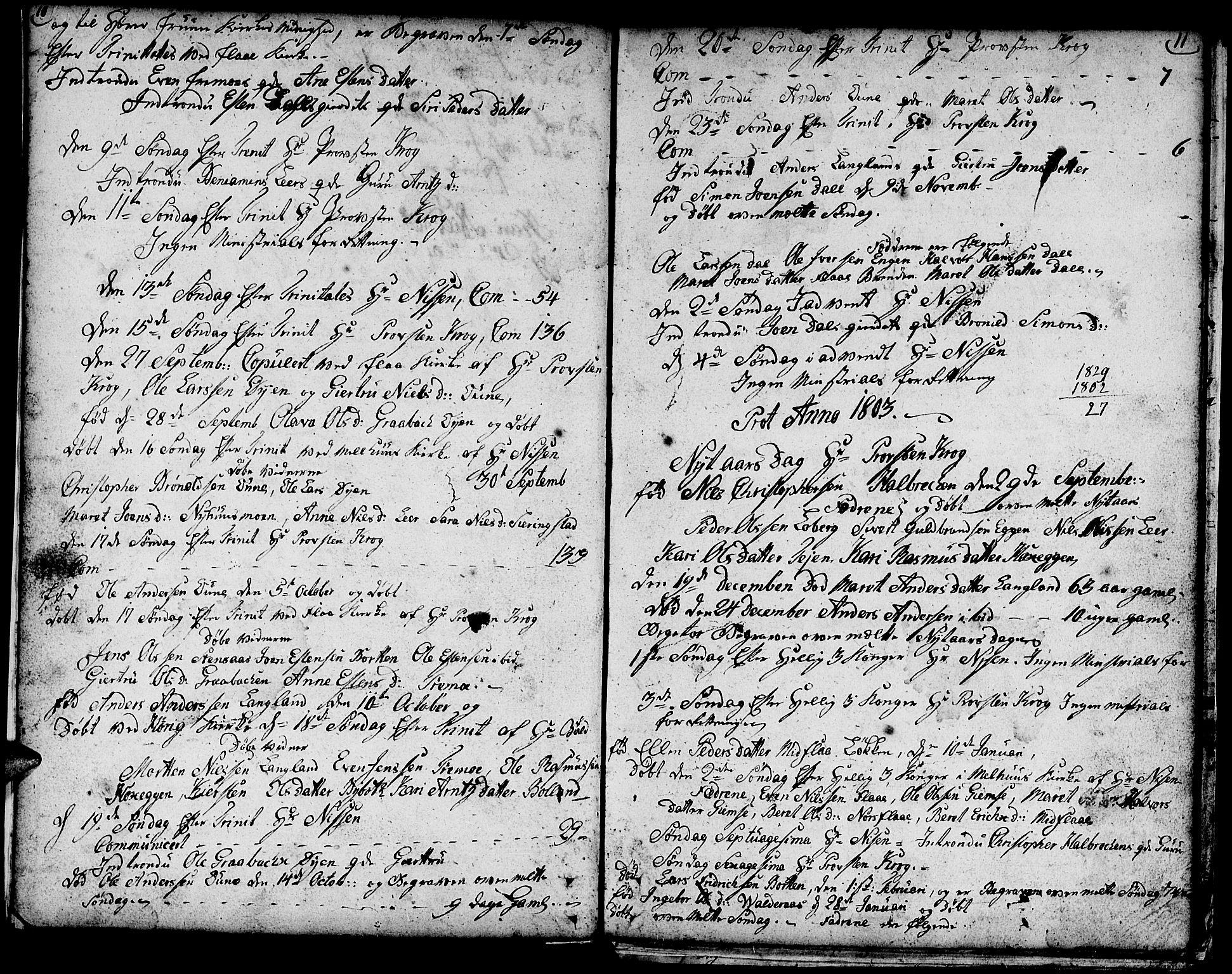 SAT, Ministerialprotokoller, klokkerbøker og fødselsregistre - Sør-Trøndelag, 693/L1120: Klokkerbok nr. 693C01, 1799-1816, s. 10-11