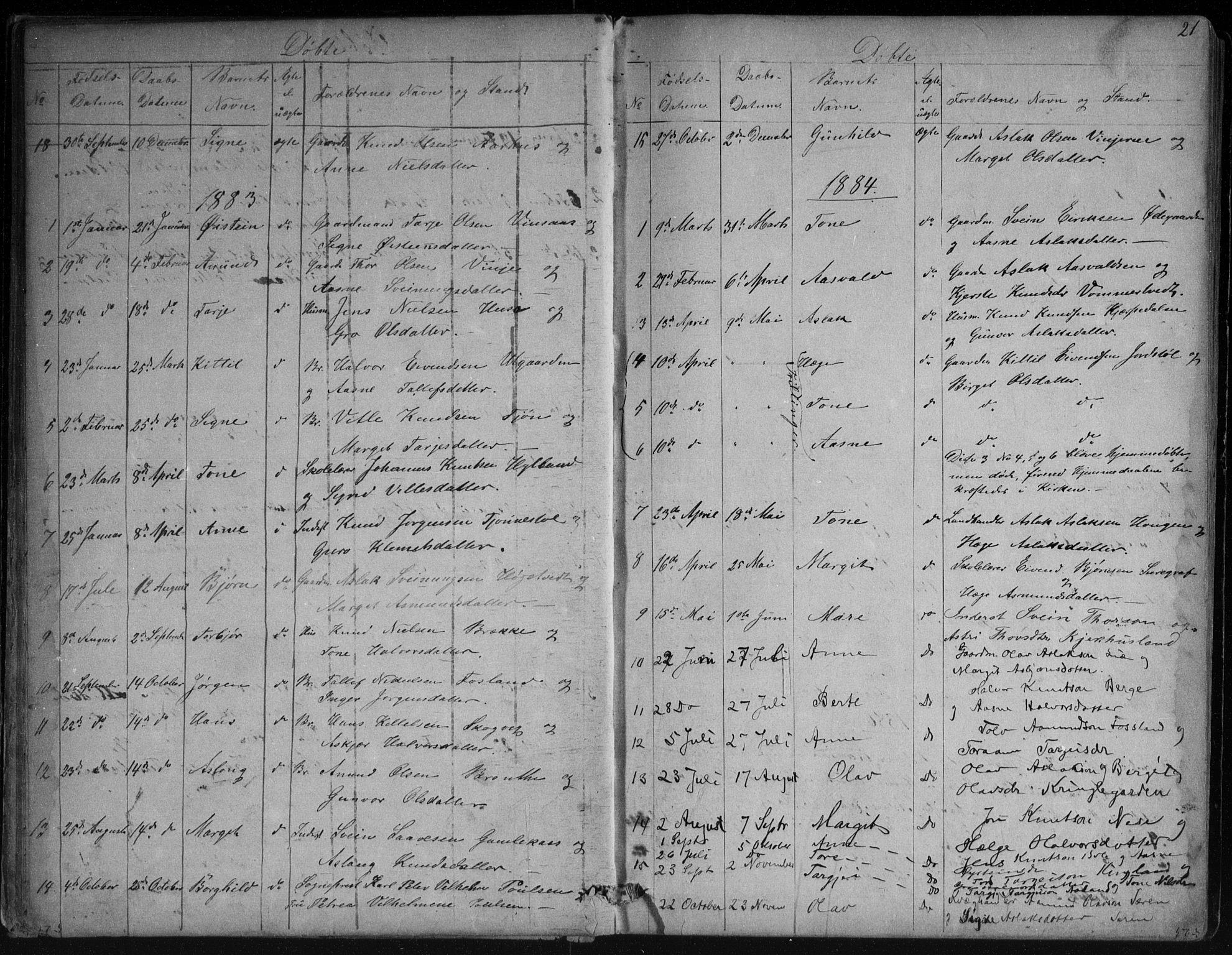SAKO, Vinje kirkebøker, G/Ga/L0002: Klokkerbok nr. I 2, 1849-1893, s. 21