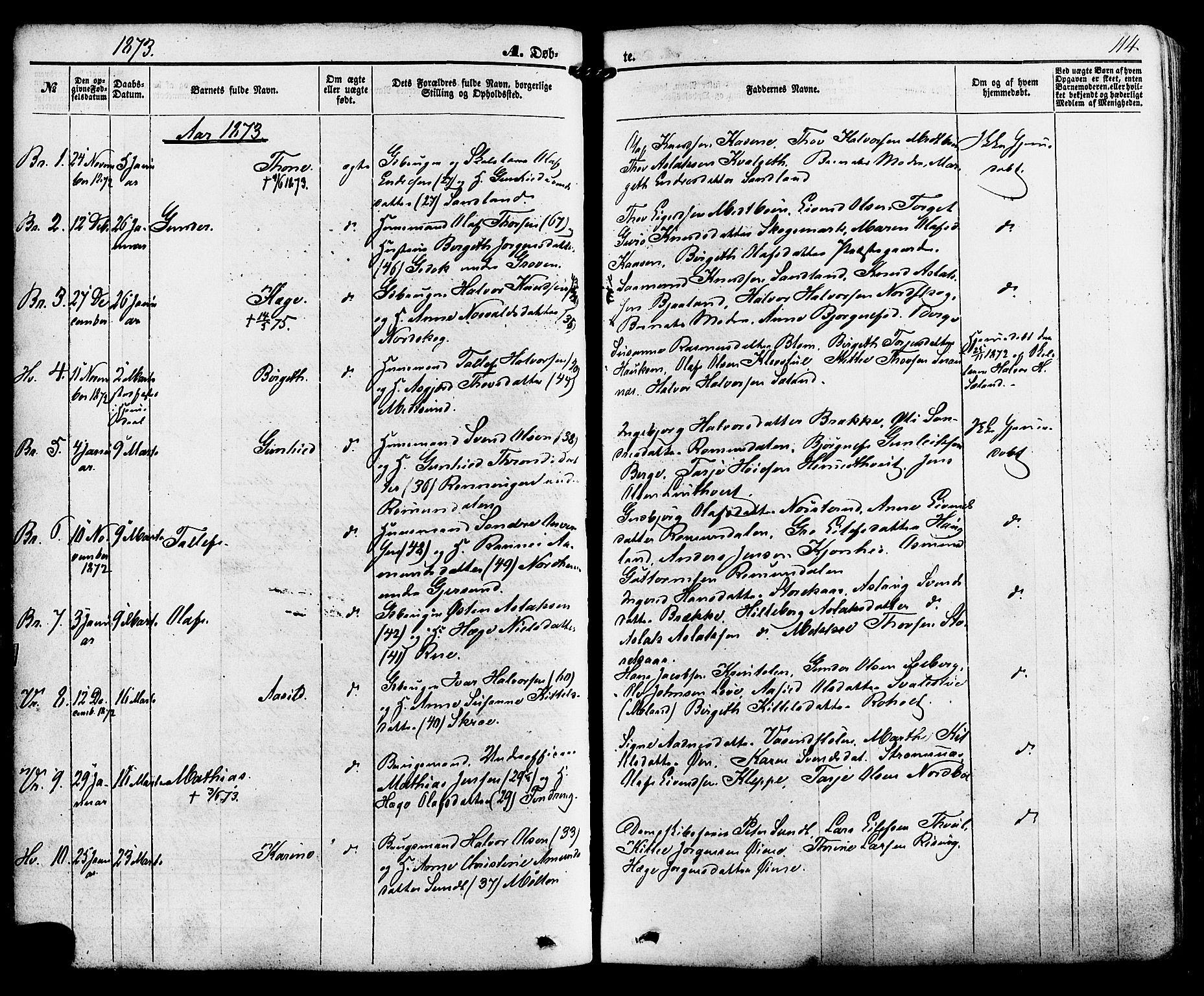 SAKO, Kviteseid kirkebøker, F/Fa/L0007: Ministerialbok nr. I 7, 1859-1881, s. 114