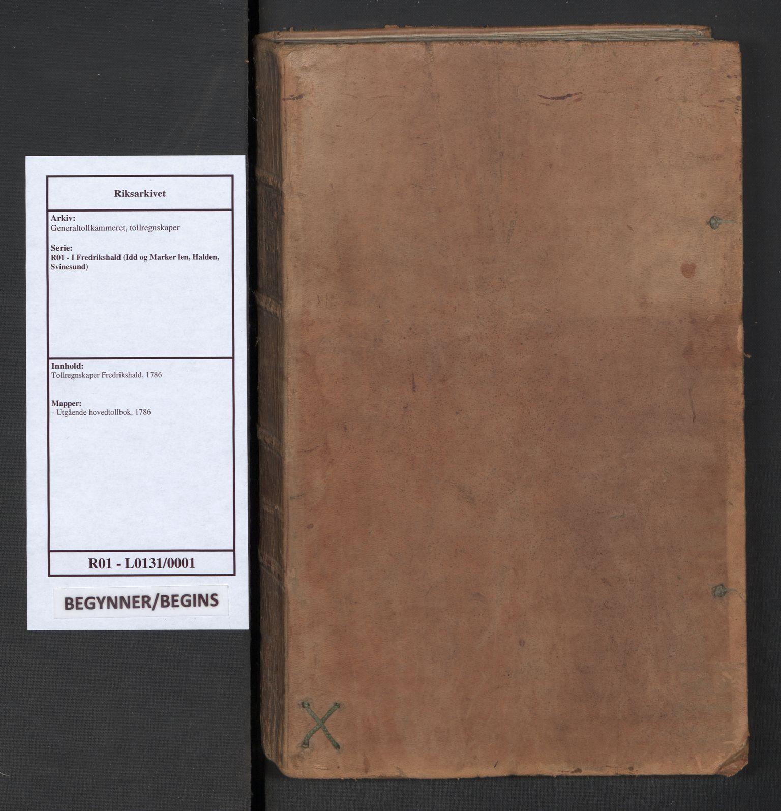 RA, Generaltollkammeret, tollregnskaper, R01/L0131: Tollregnskaper Fredrikshald, 1786