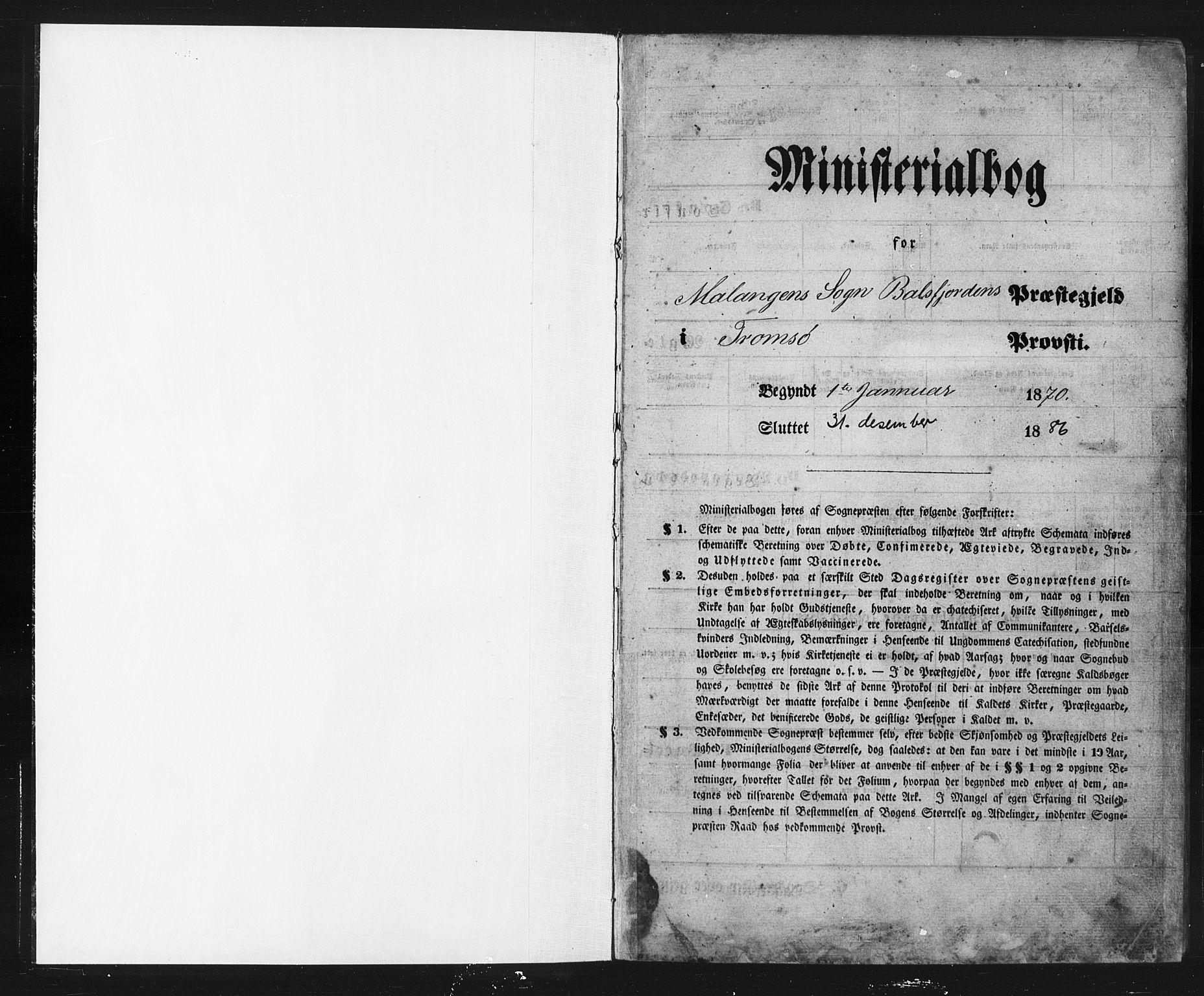SATØ, Balsfjord sokneprestembete, Klokkerbok nr. 2, 1870-1886