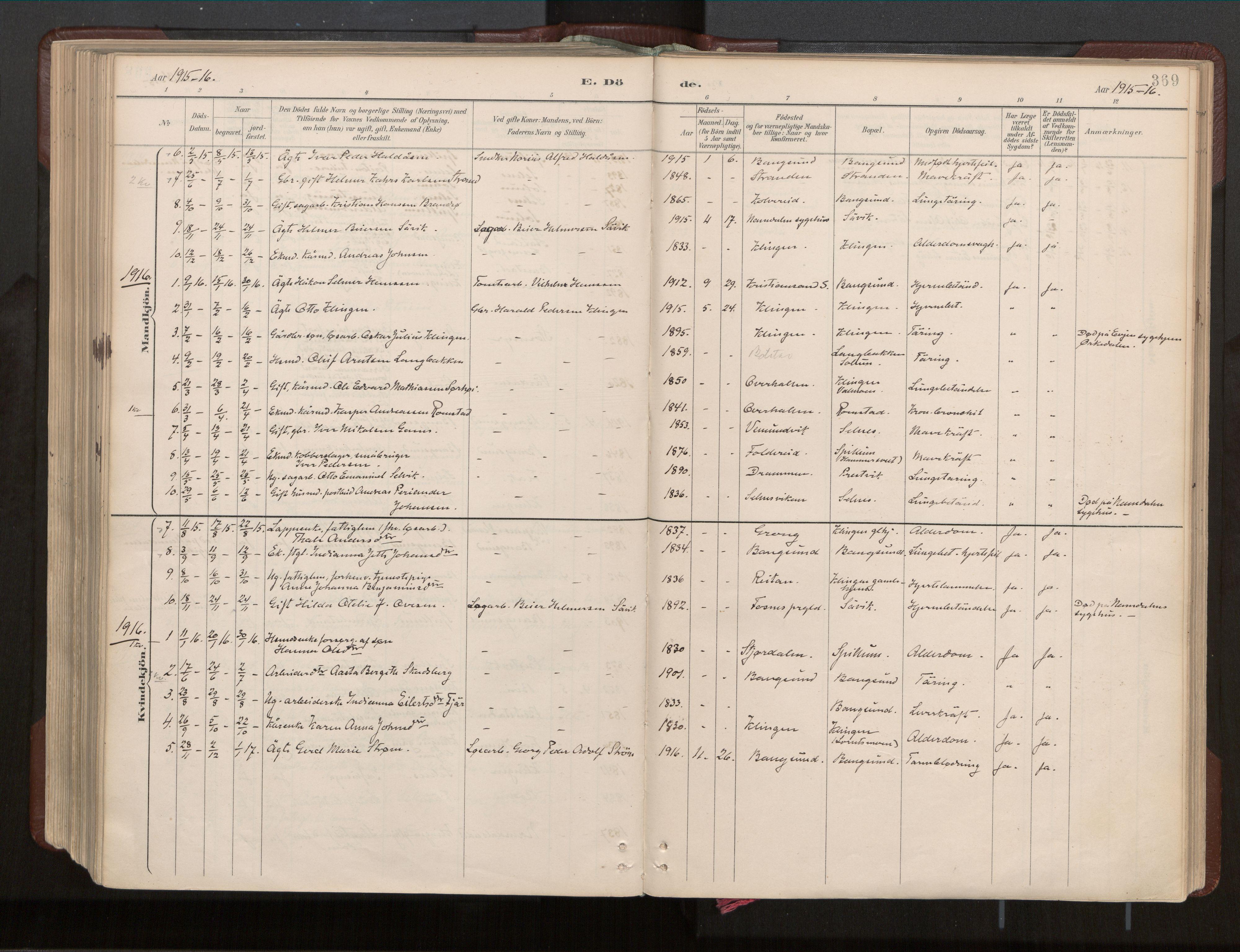 SAT, Ministerialprotokoller, klokkerbøker og fødselsregistre - Nord-Trøndelag, 770/L0589: Ministerialbok nr. 770A03, 1887-1929, s. 369