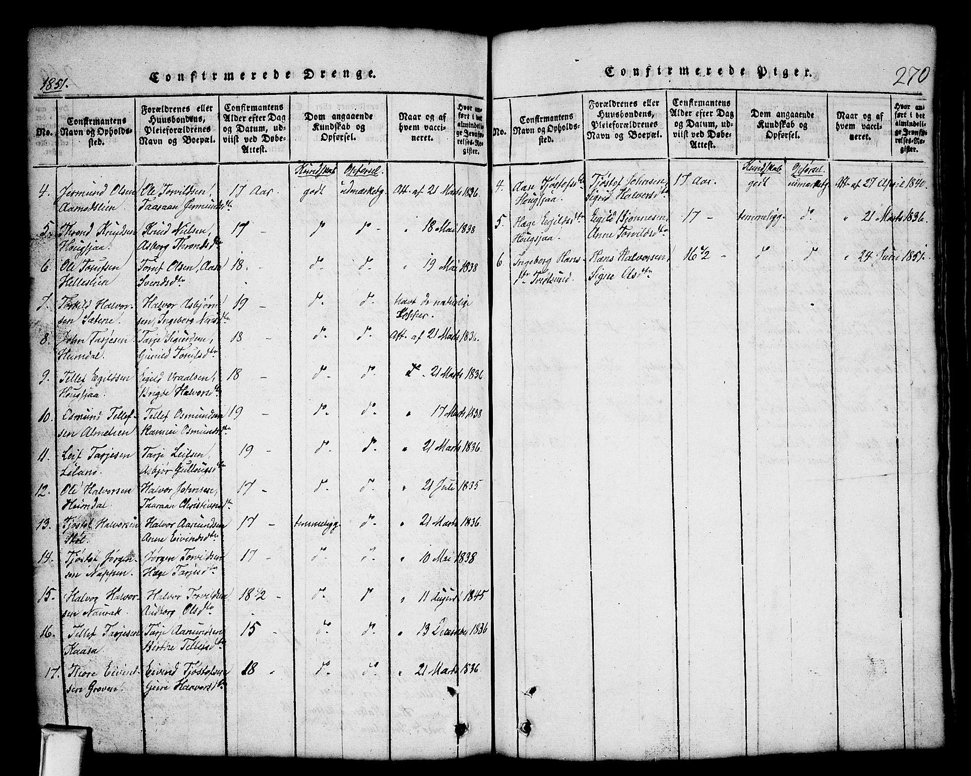 SAKO, Nissedal kirkebøker, G/Gb/L0001: Klokkerbok nr. II 1, 1814-1862, s. 270