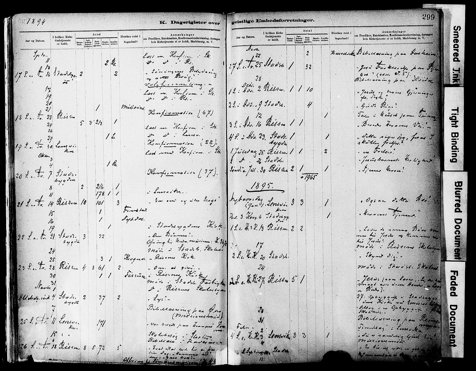 SAT, Ministerialprotokoller, klokkerbøker og fødselsregistre - Sør-Trøndelag, 646/L0615: Ministerialbok nr. 646A13, 1885-1900, s. 299