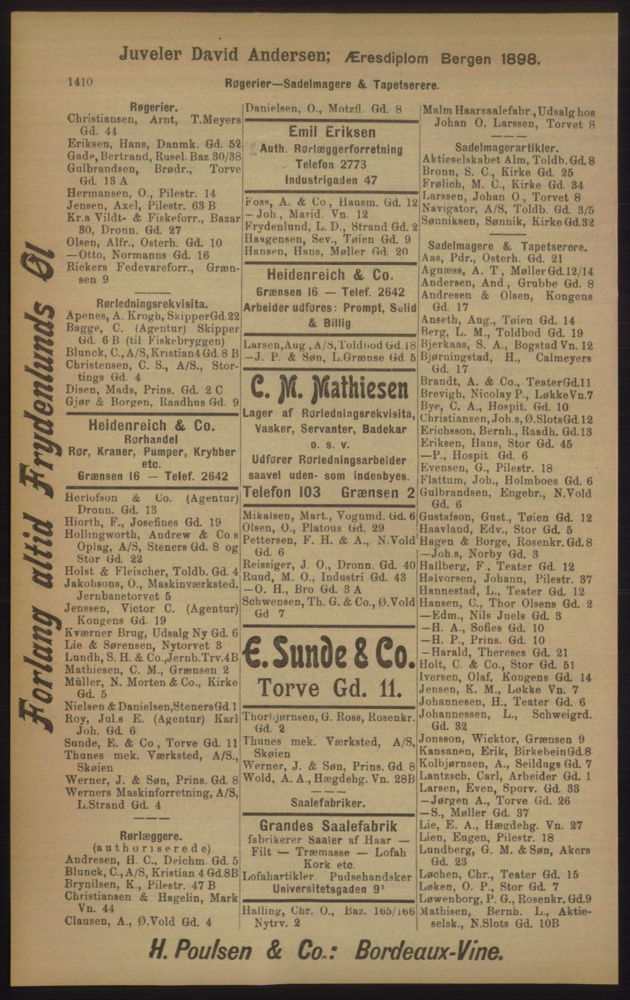 RA, Kristiania adressebok (publikasjon)*, 1905, s. 1410
