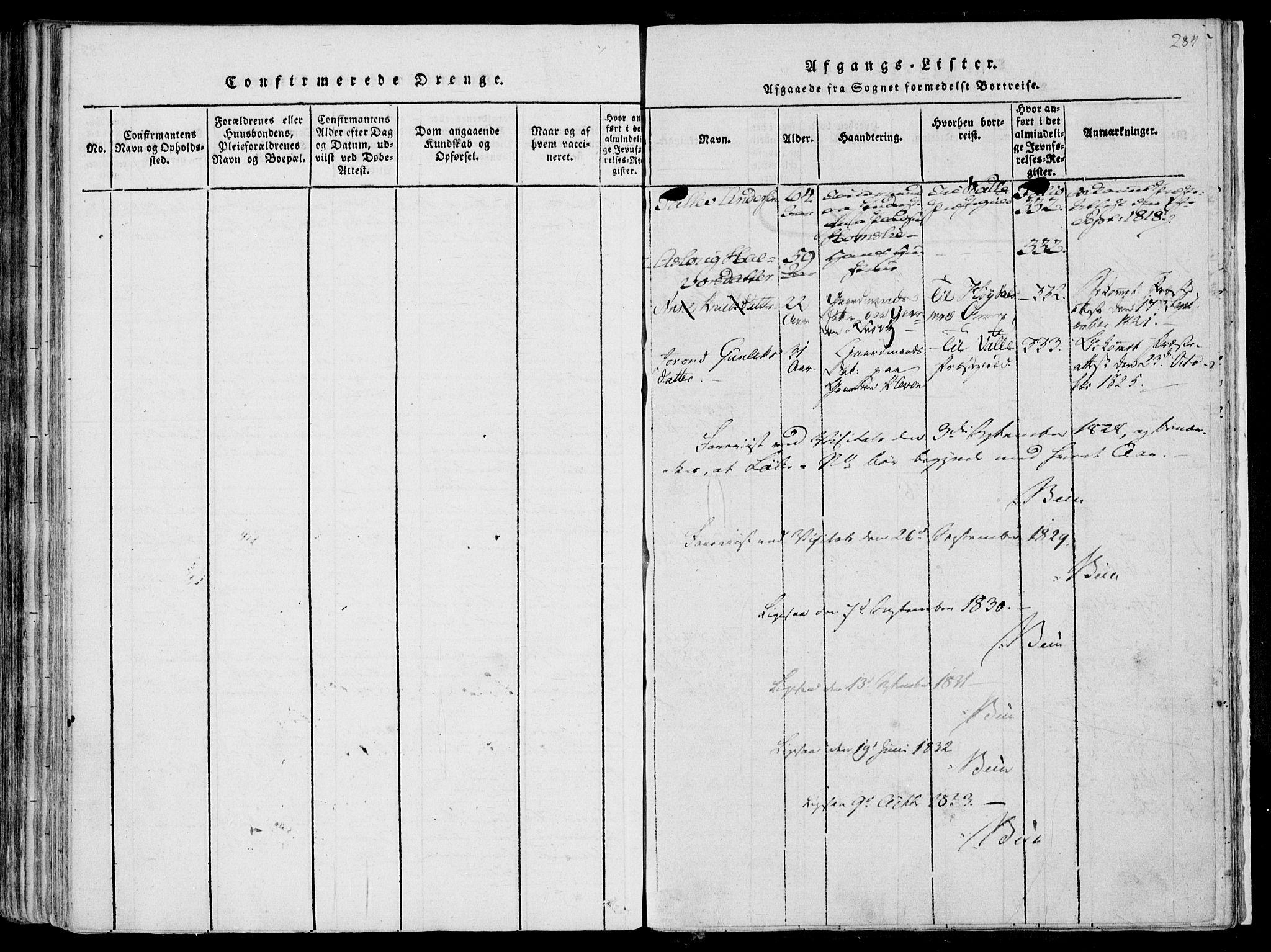 SAKO, Fyresdal kirkebøker, F/Fa/L0004: Ministerialbok nr. I 4, 1815-1854, s. 284