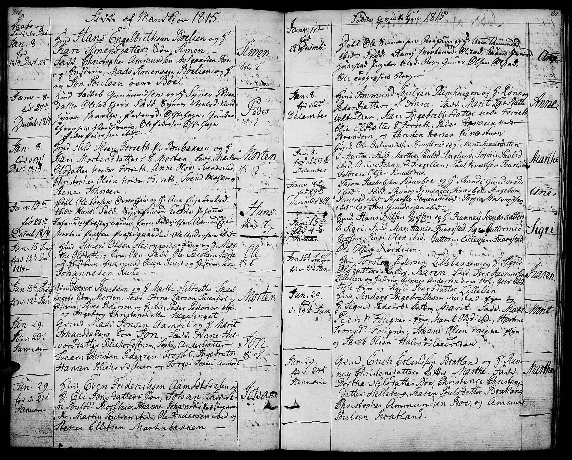 SAH, Gausdal prestekontor, Ministerialbok nr. 4, 1809-1817, s. 210-211