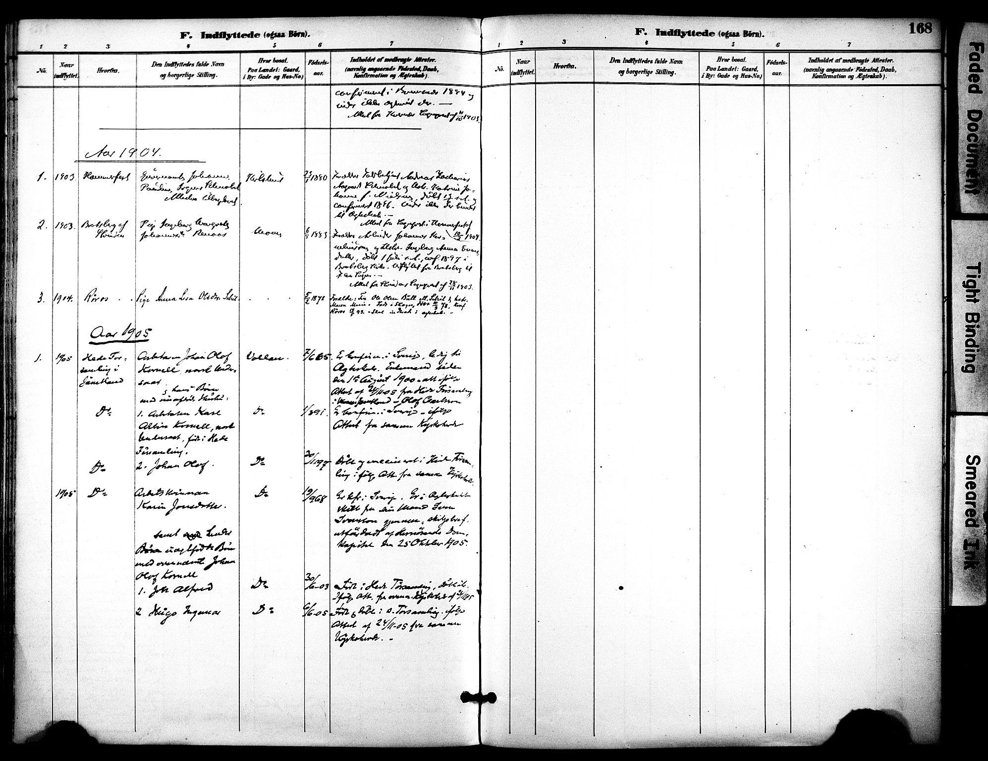 SAT, Ministerialprotokoller, klokkerbøker og fødselsregistre - Sør-Trøndelag, 686/L0984: Ministerialbok nr. 686A02, 1891-1906, s. 168