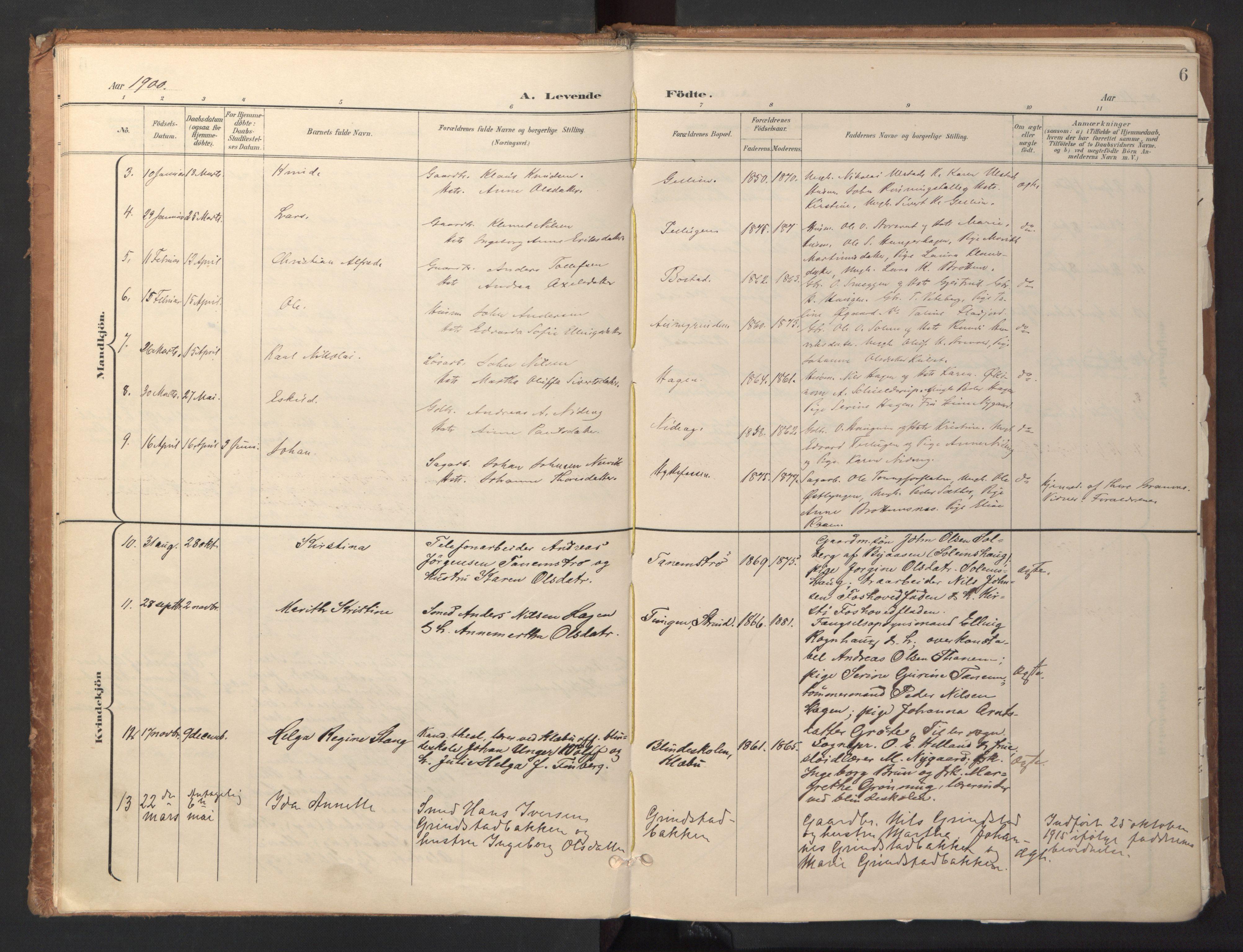 SAT, Ministerialprotokoller, klokkerbøker og fødselsregistre - Sør-Trøndelag, 618/L0448: Ministerialbok nr. 618A11, 1898-1916, s. 6
