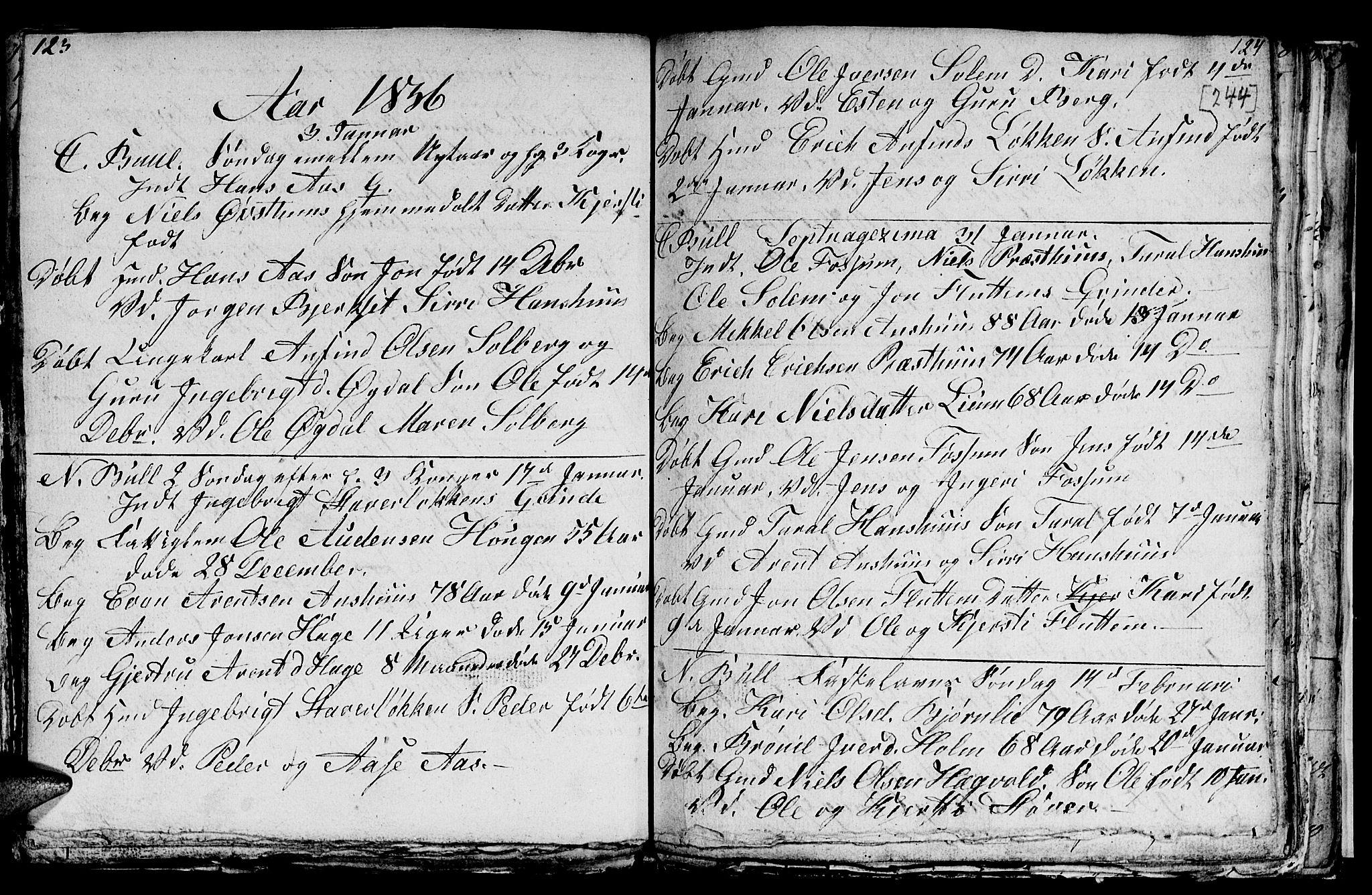 SAT, Ministerialprotokoller, klokkerbøker og fødselsregistre - Sør-Trøndelag, 689/L1042: Klokkerbok nr. 689C01, 1812-1841, s. 243-244