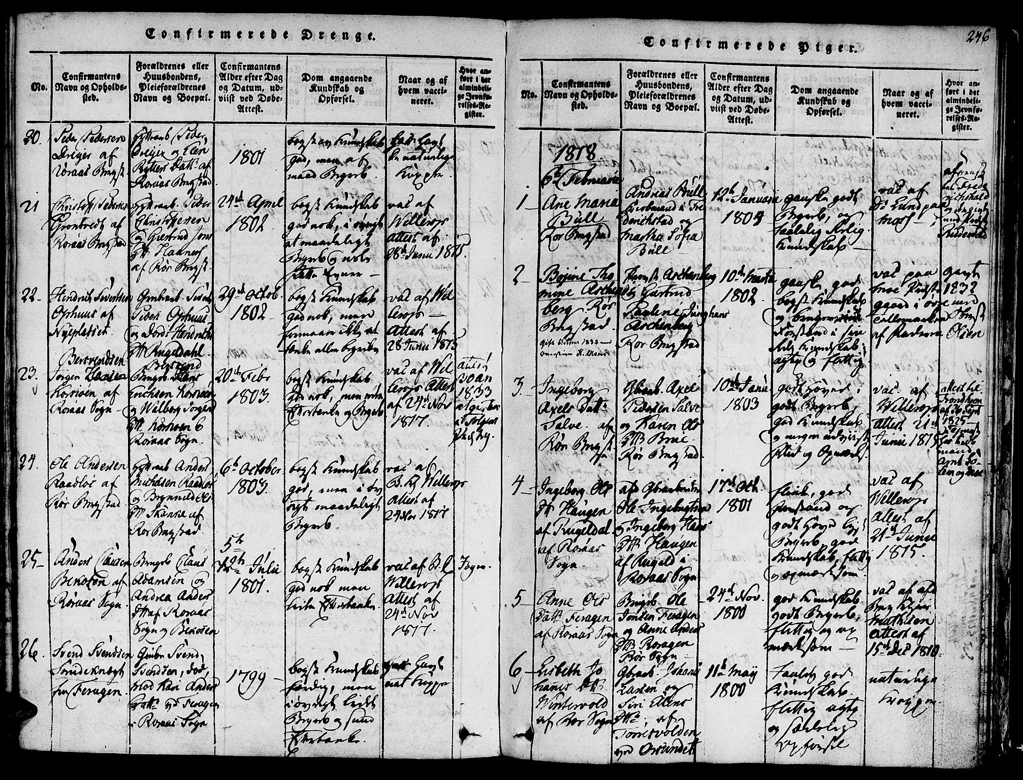 SAT, Ministerialprotokoller, klokkerbøker og fødselsregistre - Sør-Trøndelag, 681/L0929: Ministerialbok nr. 681A07, 1817-1828, s. 246