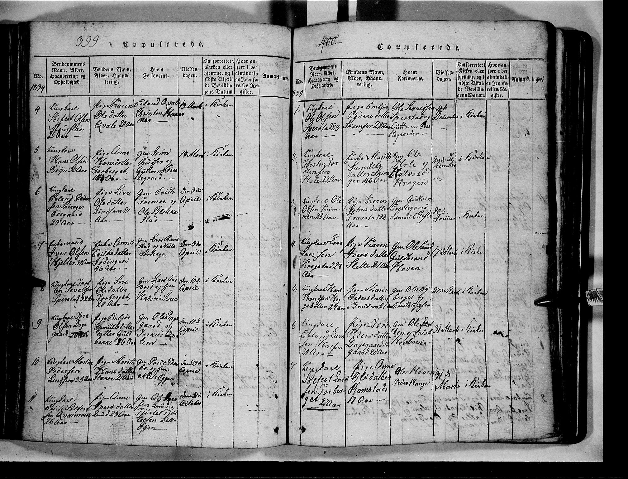 SAH, Lom prestekontor, L/L0003: Klokkerbok nr. 3, 1815-1844, s. 399-400