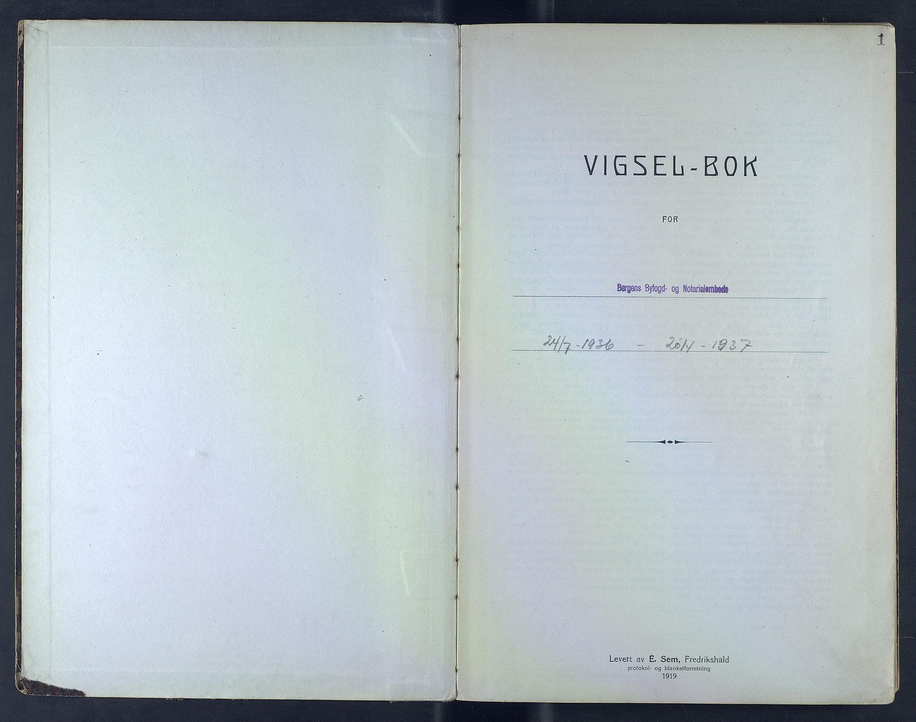SAB, Bergen byfogd og byskriver*, 1935-1936, s. 1a