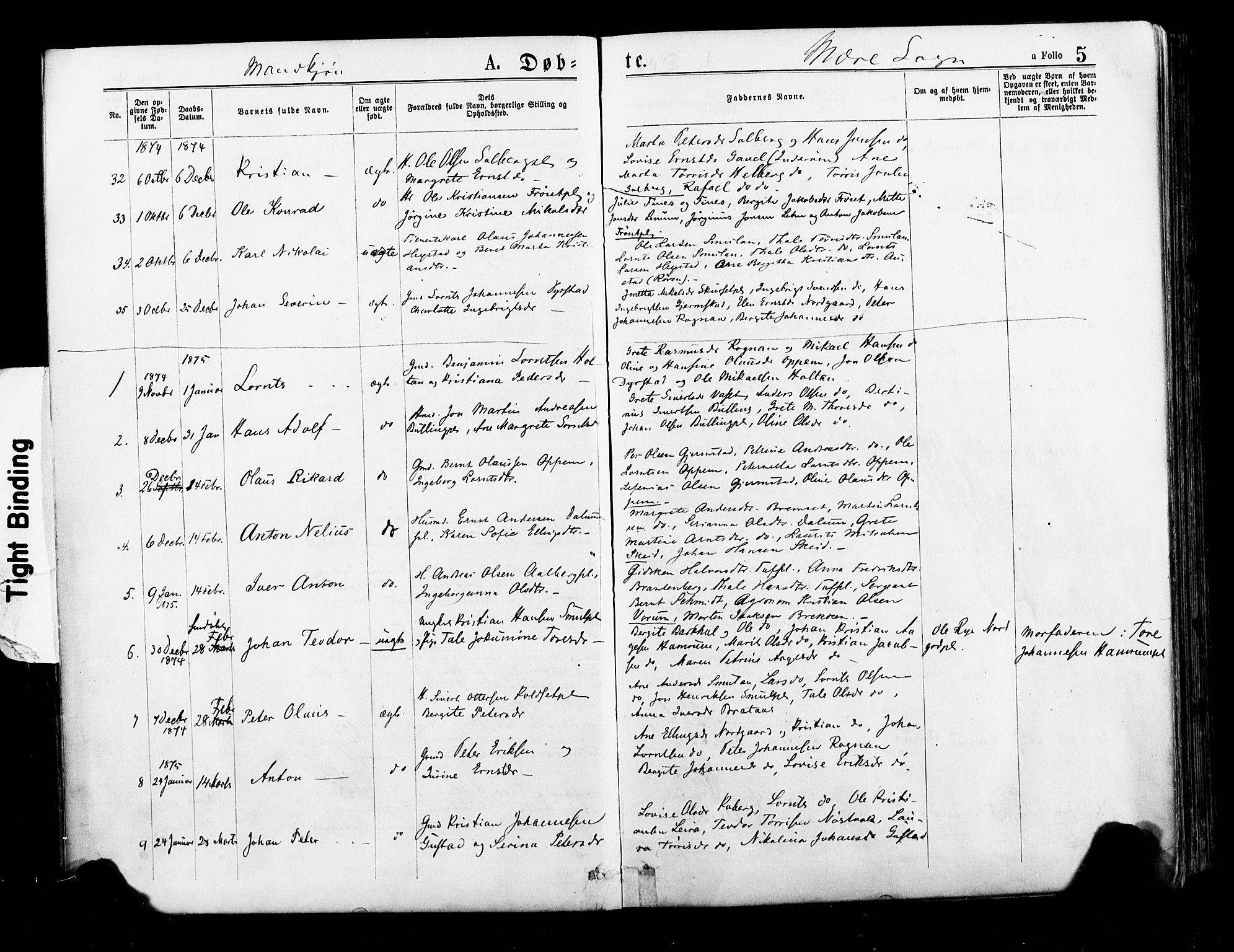 SAT, Ministerialprotokoller, klokkerbøker og fødselsregistre - Nord-Trøndelag, 735/L0348: Ministerialbok nr. 735A09 /1, 1873-1883, s. 5