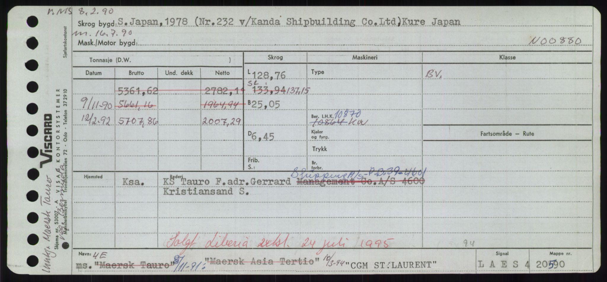 RA, Sjøfartsdirektoratet med forløpere, Skipsmålingen, H/Hd/L0008: Fartøy, C-D, s. 1