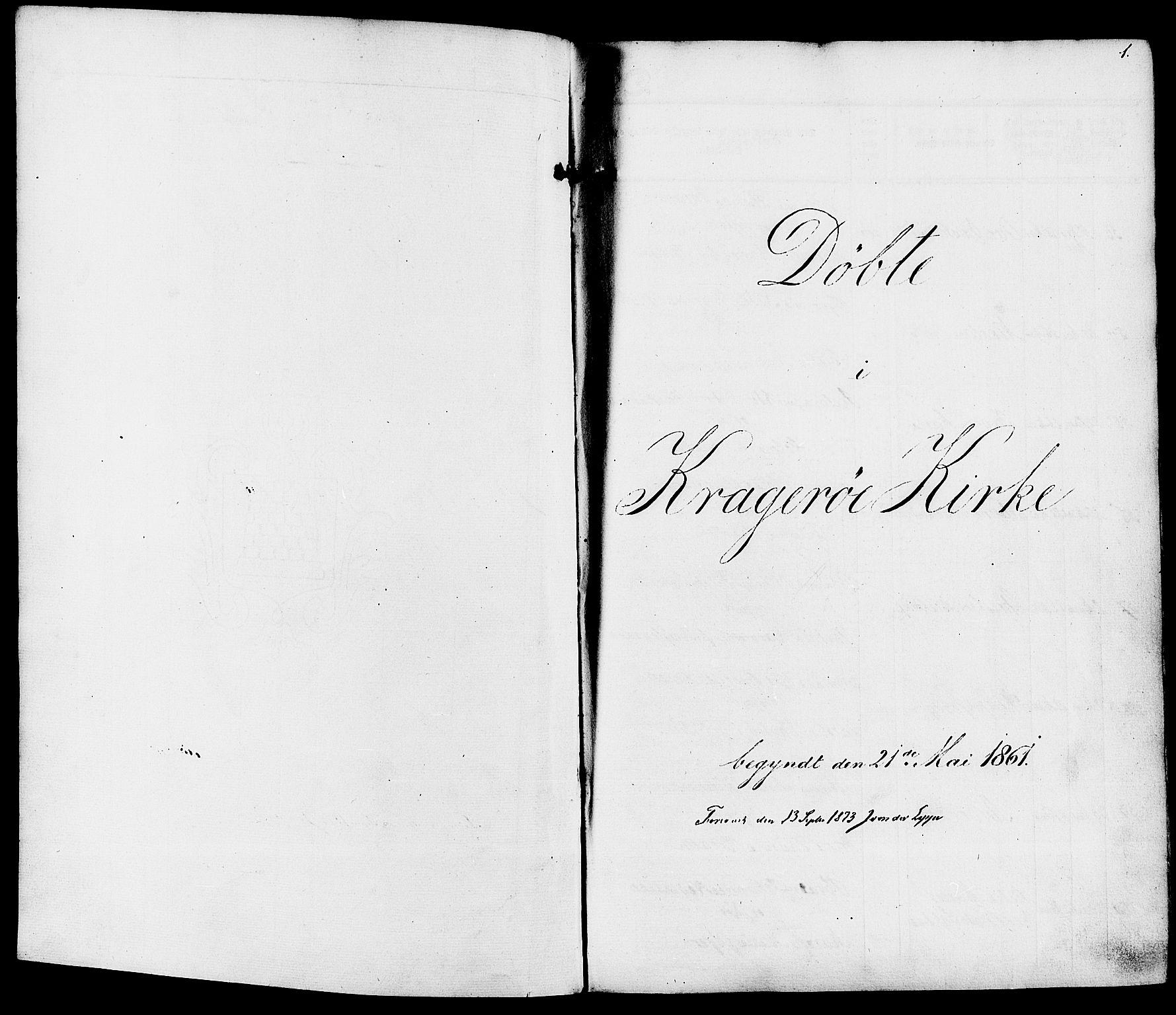 SAKO, Kragerø kirkebøker, F/Fa/L0007: Ministerialbok nr. 7, 1861-1875, s. 1