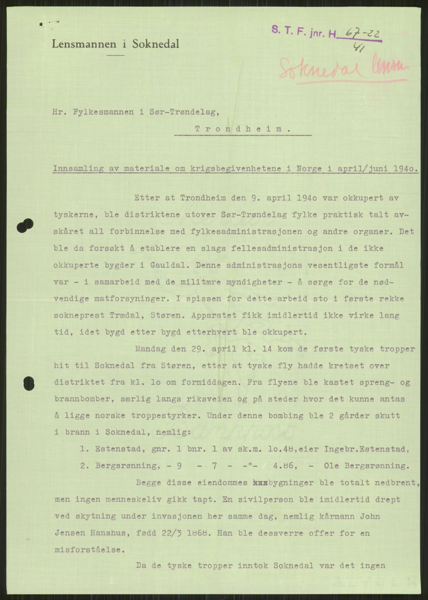 RA, Forsvaret, Forsvarets krigshistoriske avdeling, Y/Ya/L0016: II-C-11-31 - Fylkesmenn.  Rapporter om krigsbegivenhetene 1940., 1940, s. 154