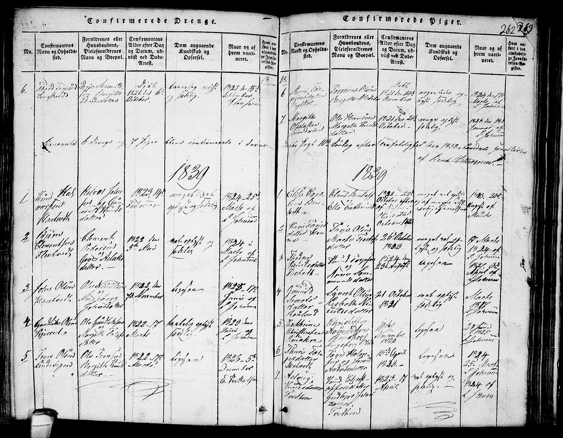 SAKO, Lårdal kirkebøker, G/Ga/L0001: Klokkerbok nr. I 1, 1815-1861, s. 262