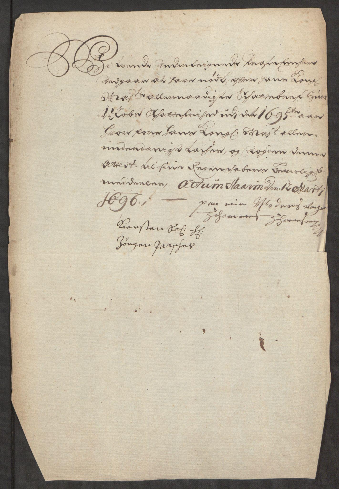 RA, Rentekammeret inntil 1814, Reviderte regnskaper, Fogderegnskap, R48/L2976: Fogderegnskap Sunnhordland og Hardanger, 1695-1696, s. 174