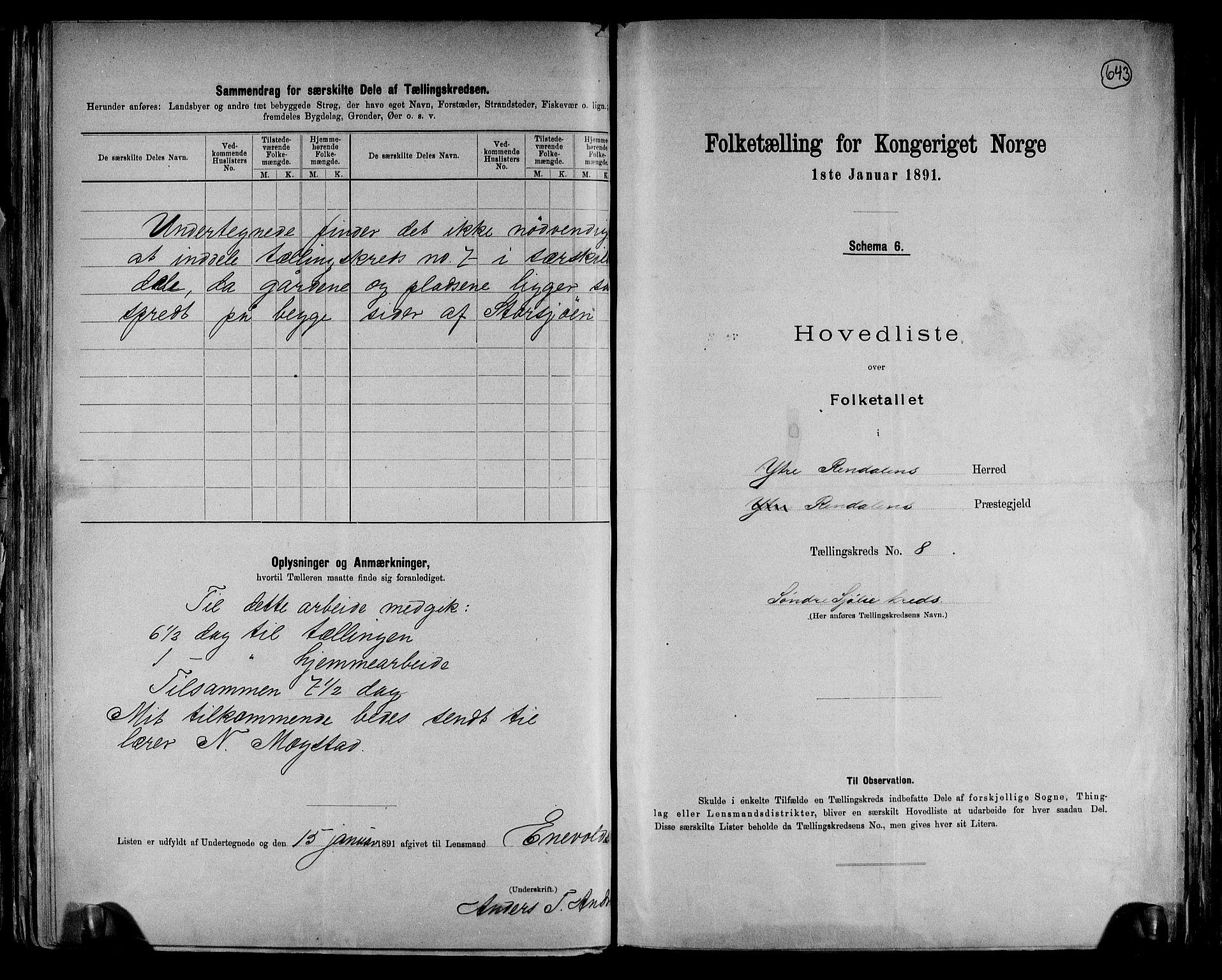 RA, Folketelling 1891 for 0432 Ytre Rendal herred, 1891, s. 19