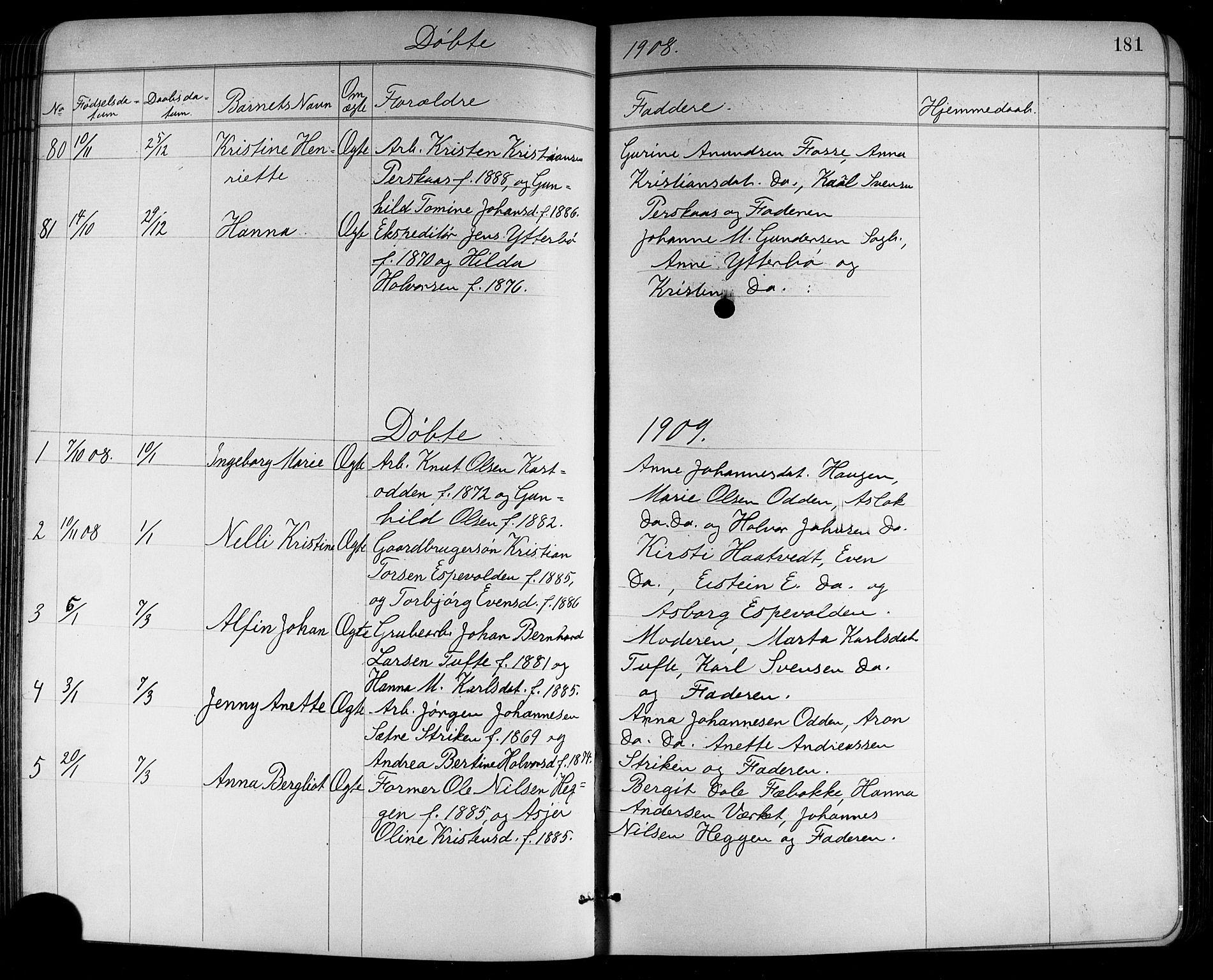 SAKO, Holla kirkebøker, G/Ga/L0005: Klokkerbok nr. I 5, 1891-1917, s. 181