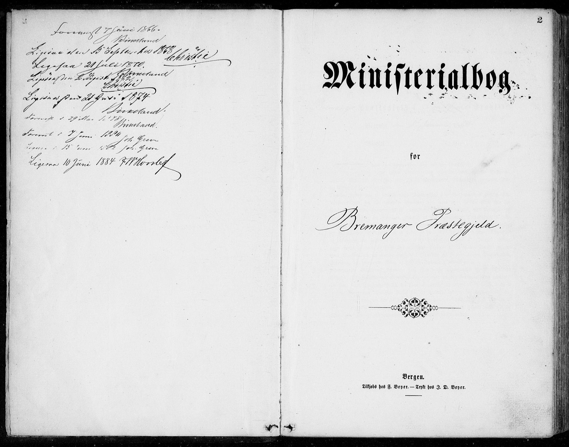 SAB, Bremanger Sokneprestembete, H/Haa: Ministerialbok nr. A  1, 1864-1883, s. 2