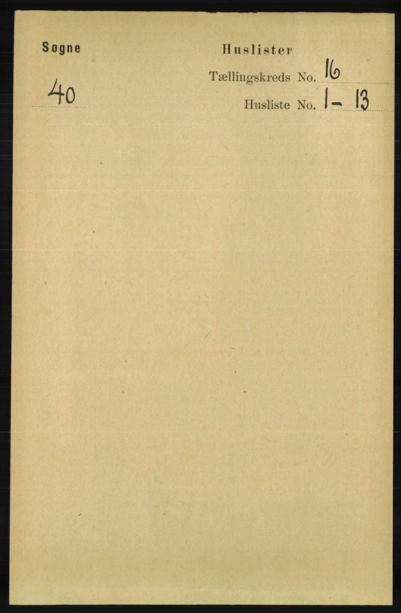 RA, Folketelling 1891 for 1018 Søgne herred, 1891, s. 4379
