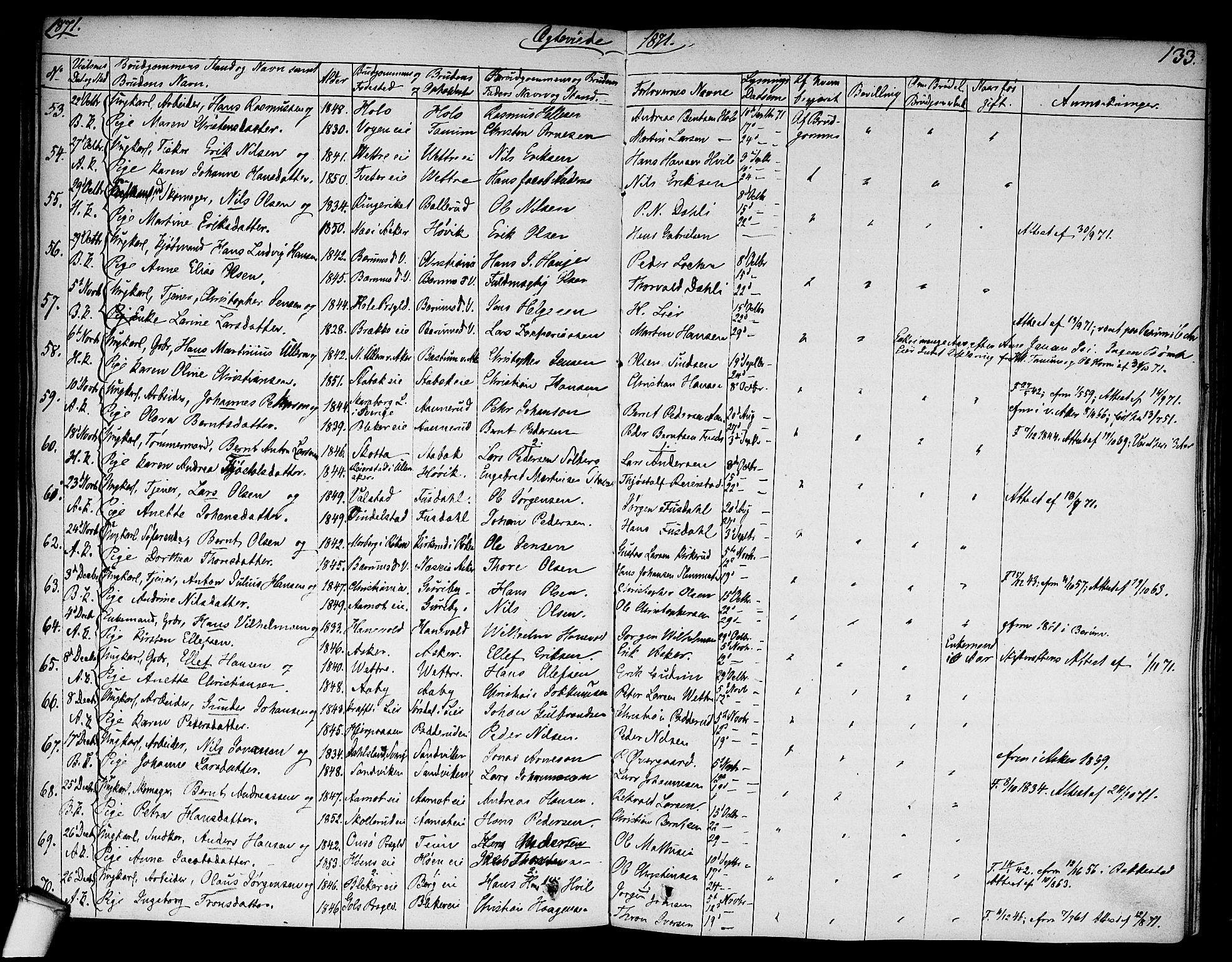 SAO, Asker prestekontor Kirkebøker, F/Fa/L0010: Ministerialbok nr. I 10, 1825-1878, s. 133