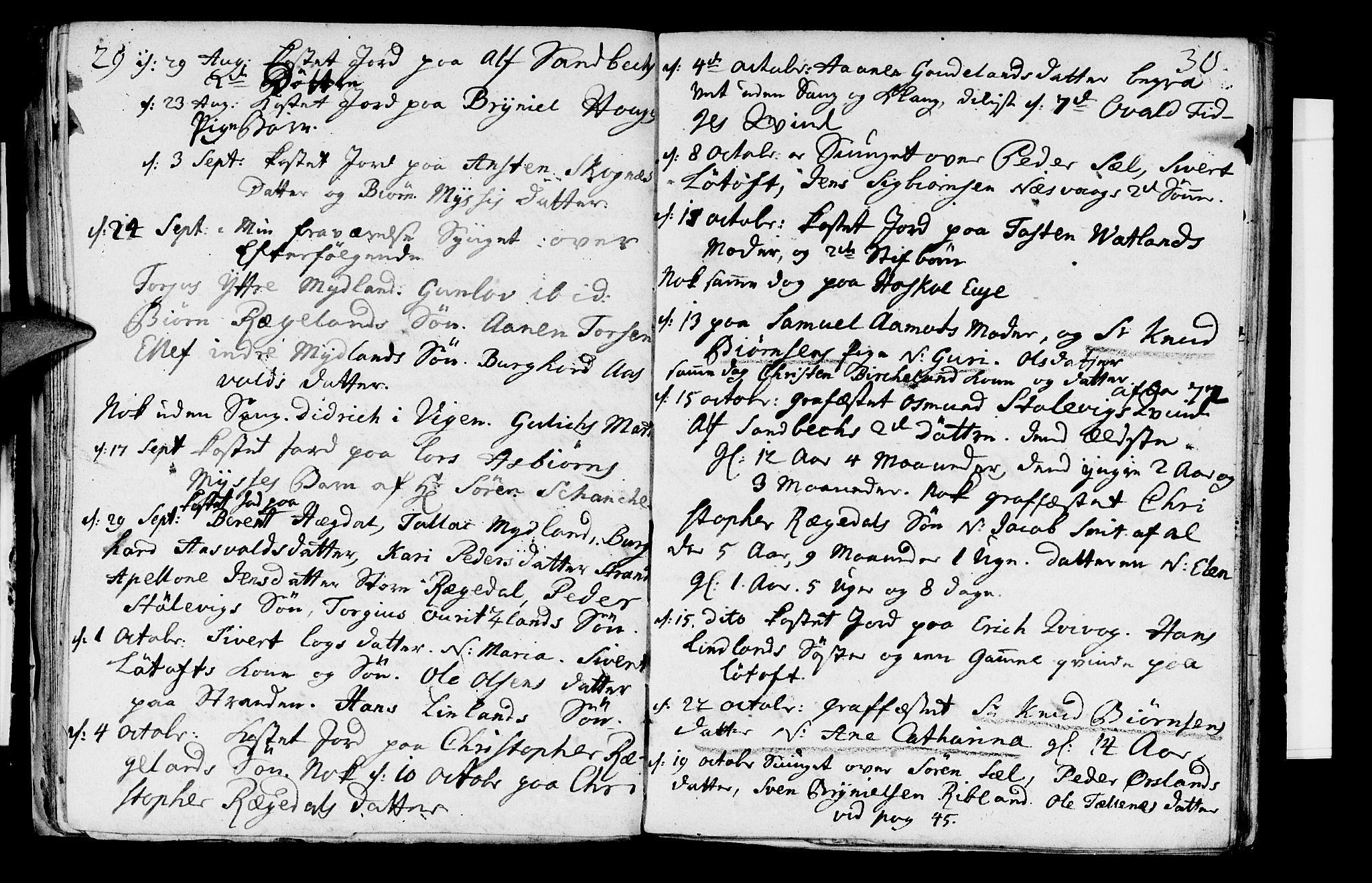 SAST, Sokndal sokneprestkontor, Ministerialbok nr. A 2, 1740-1743, s. 29-30