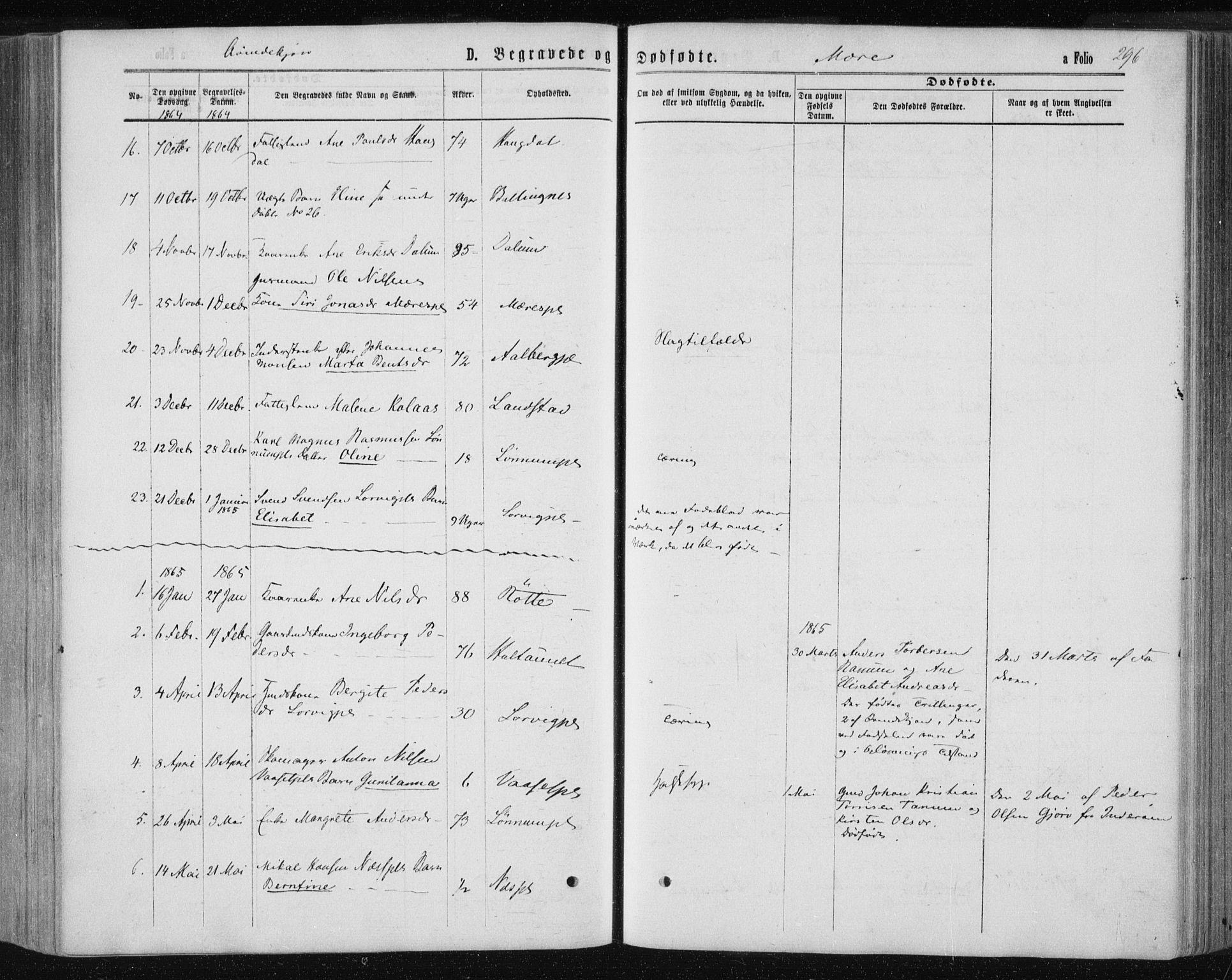 SAT, Ministerialprotokoller, klokkerbøker og fødselsregistre - Nord-Trøndelag, 735/L0345: Ministerialbok nr. 735A08 /1, 1863-1872, s. 296