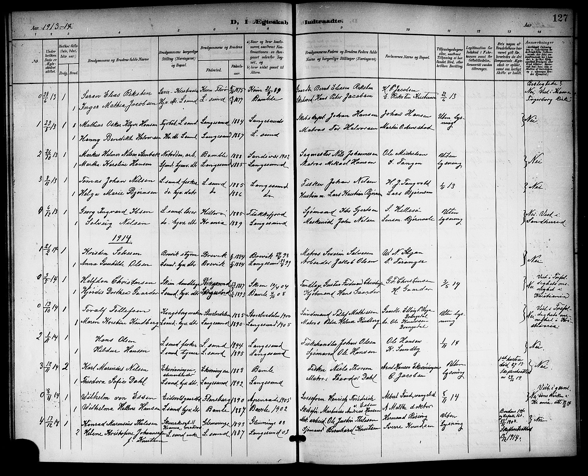 SAKO, Langesund kirkebøker, G/Ga/L0006: Klokkerbok nr. 6, 1899-1918, s. 127