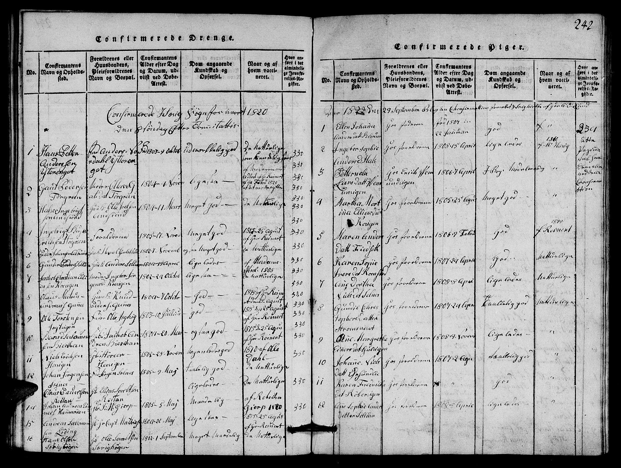 SAT, Ministerialprotokoller, klokkerbøker og fødselsregistre - Nord-Trøndelag, 770/L0590: Klokkerbok nr. 770C01, 1815-1824, s. 242