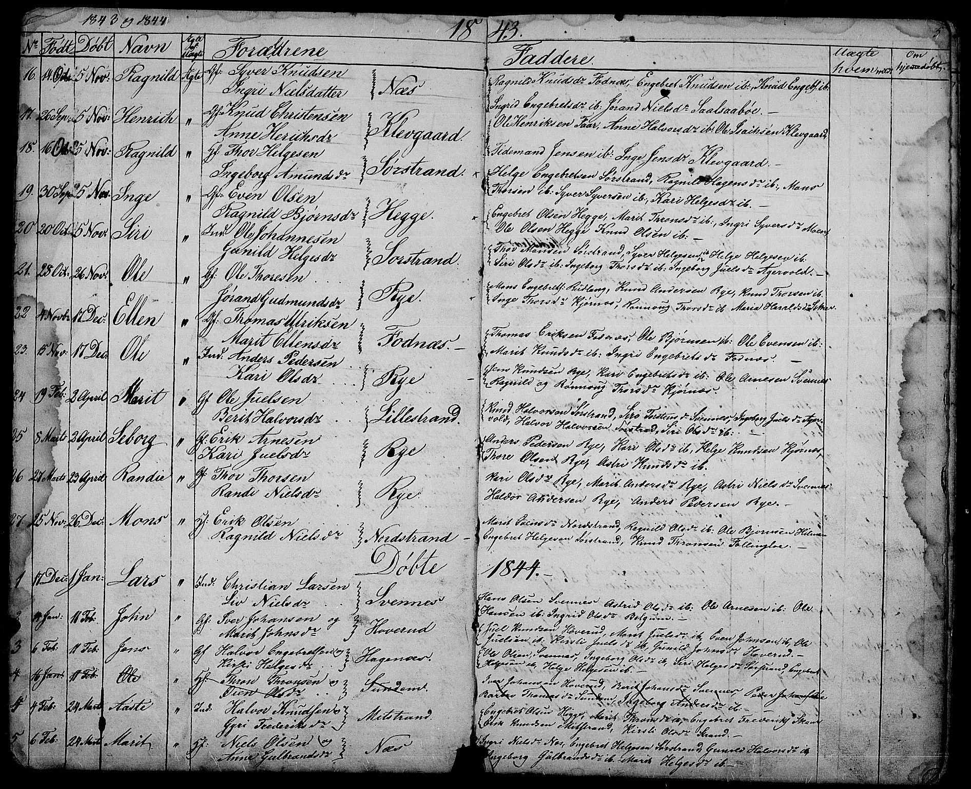 SAH, Nord-Aurdal prestekontor, Klokkerbok nr. 3, 1842-1882, s. 5