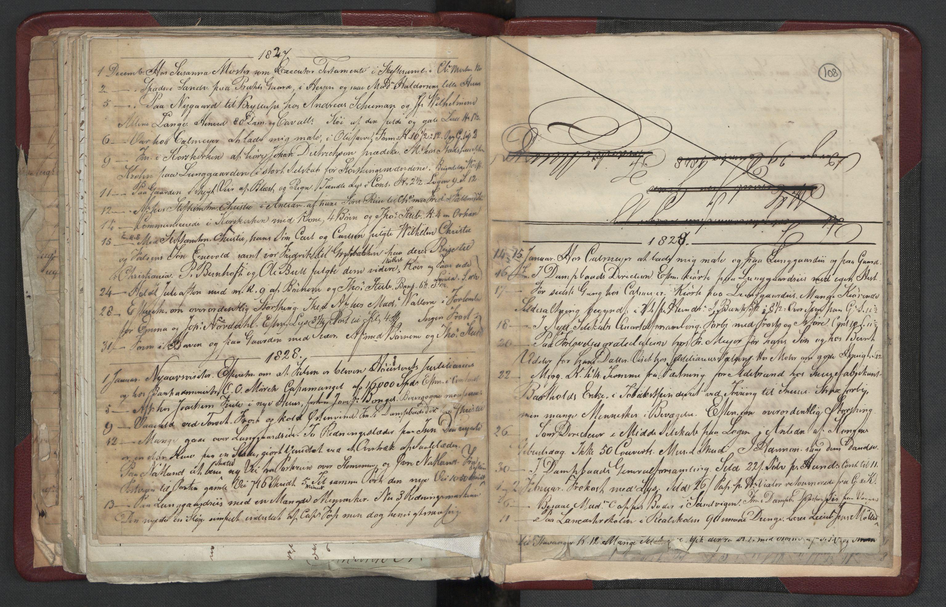 RA, Meltzer, Fredrik, F/L0004: Dagbok, 1822-1830, s. 107b-108a